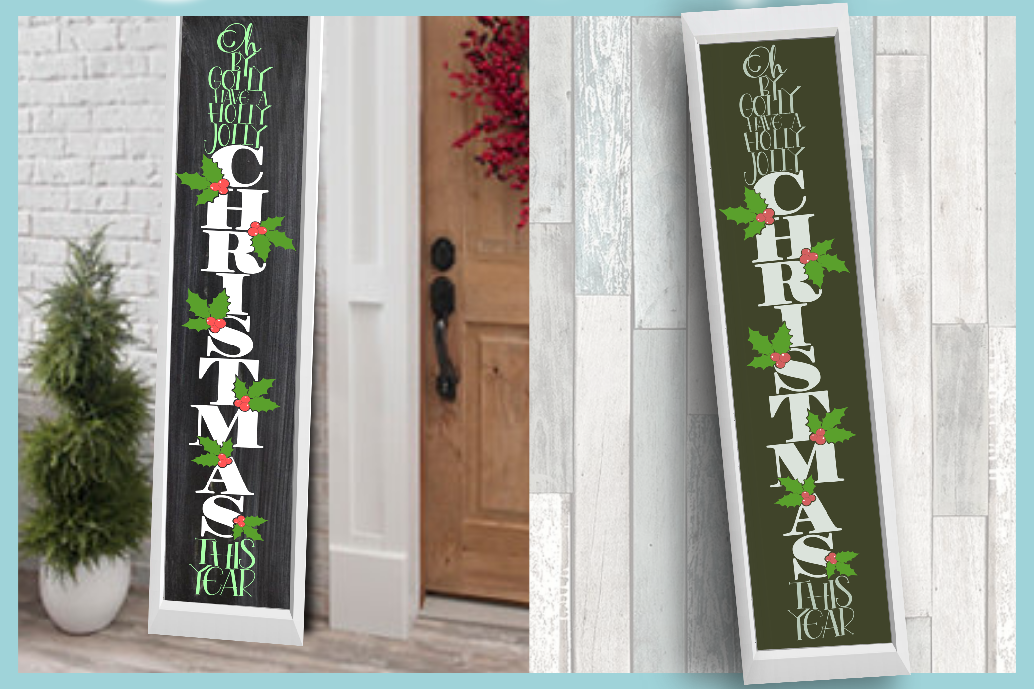 Holiday Tall Vertical Front Porch Sign Bundle SVG example image 4