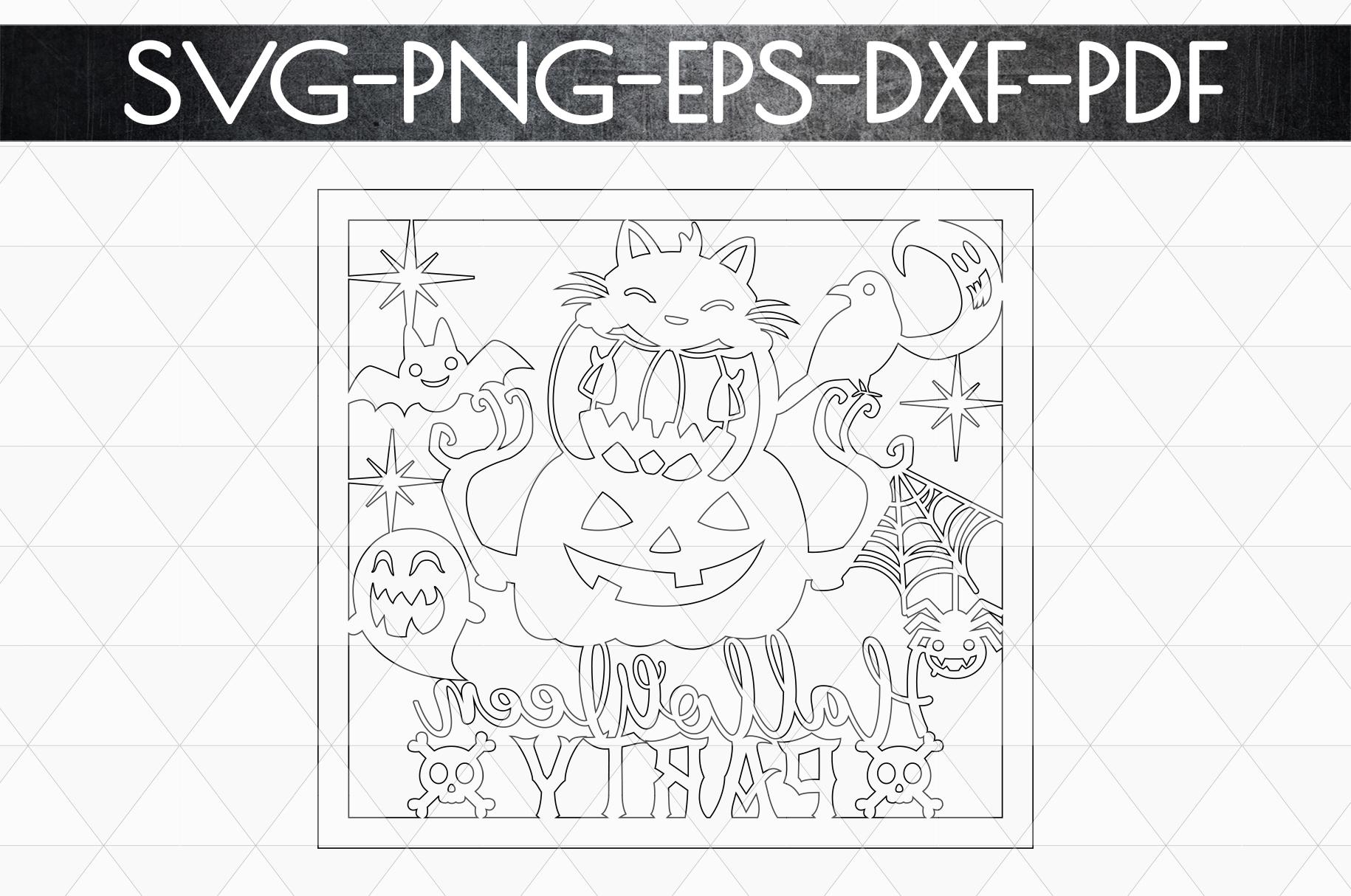 Halloween Party Papercut Template, Halloween Decor SVG, PDF example image 6