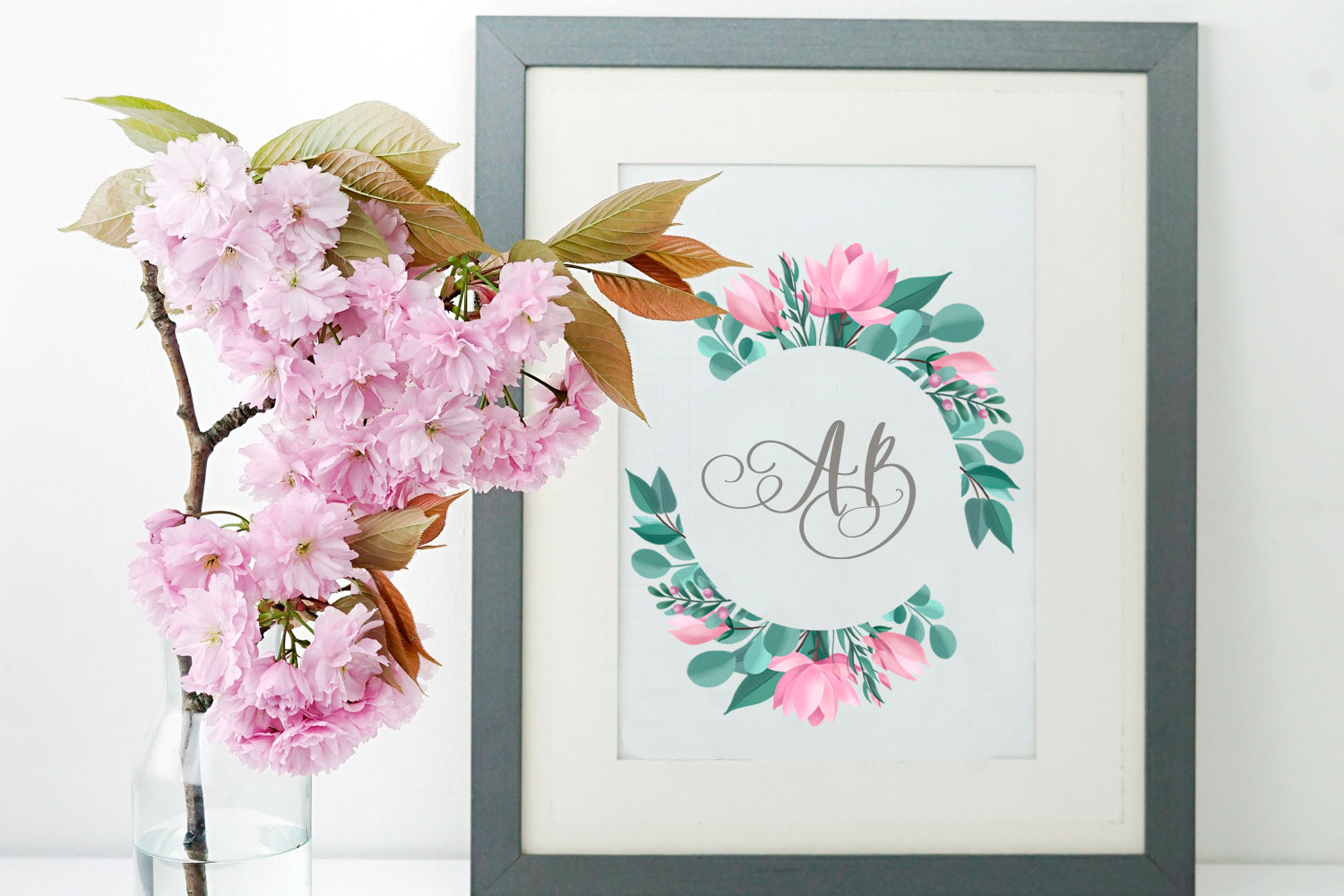 Pink Flowers. Clip art set example image 4