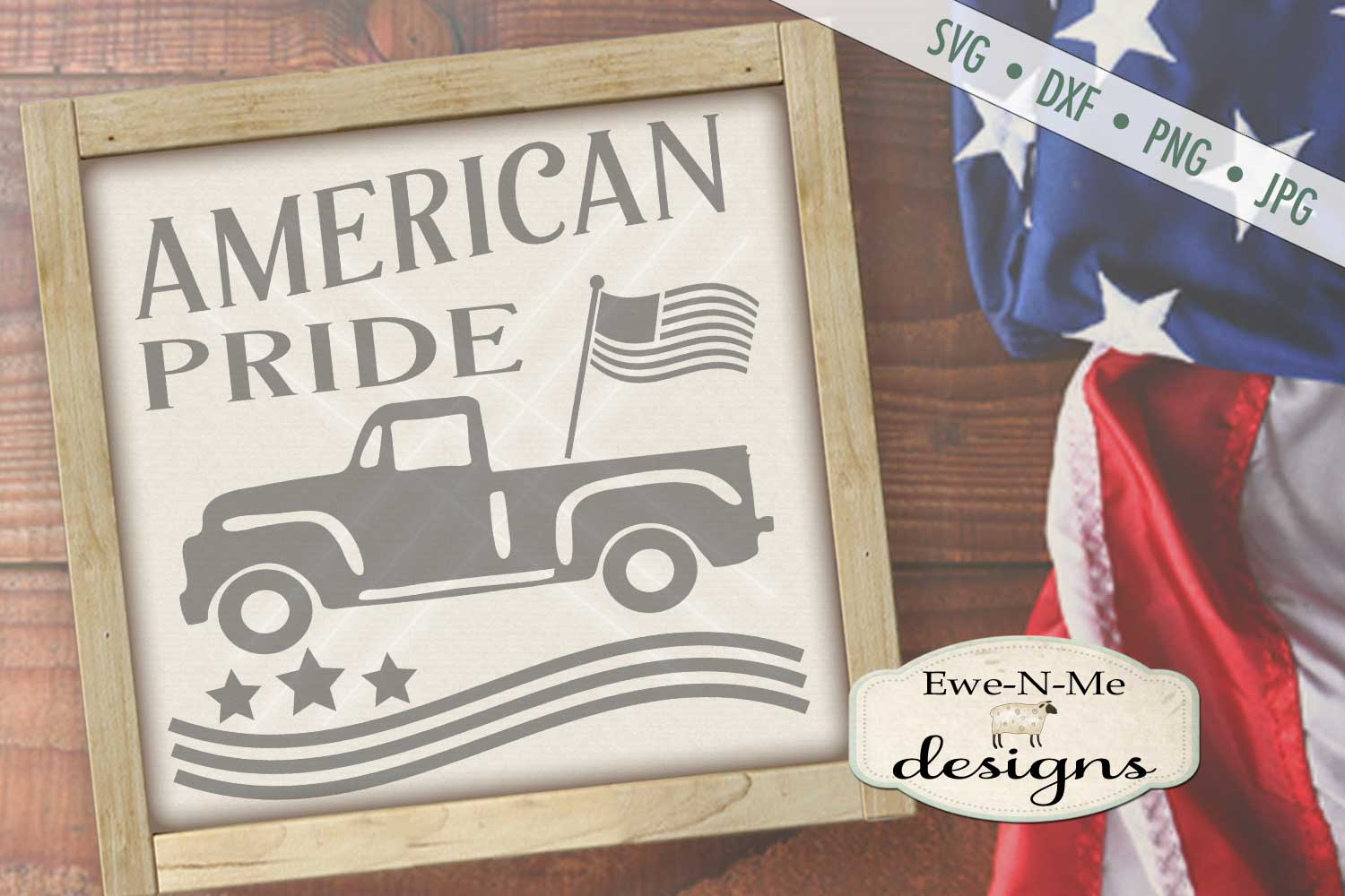 American Pride - Vintage Truck - Flag 4th of July - SVG DXF example image 2