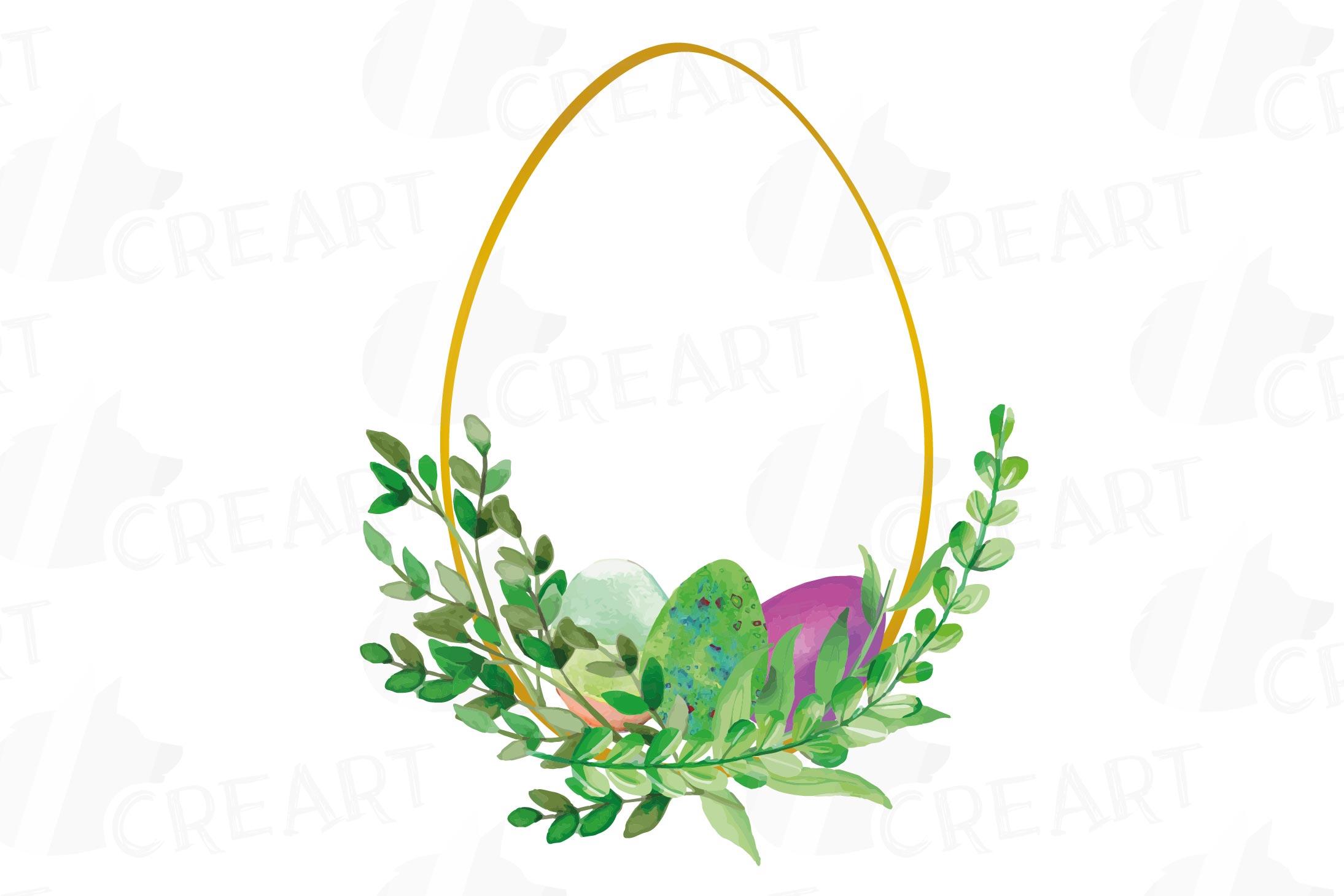 Easter golden watercolor floral frames, floral frames example image 8