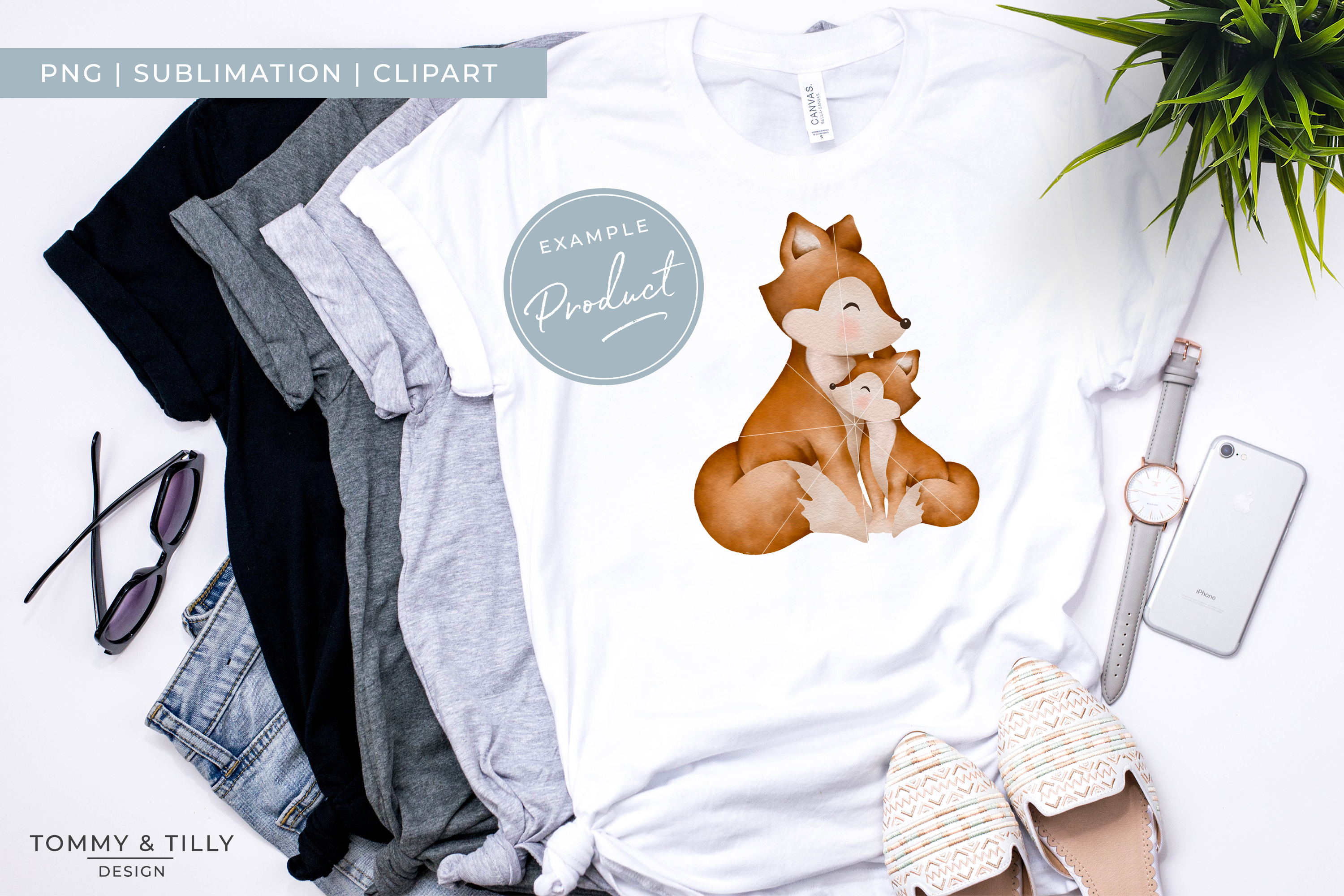 Mummy and Baby Fox - Sublimation PNG Clipart example image 4