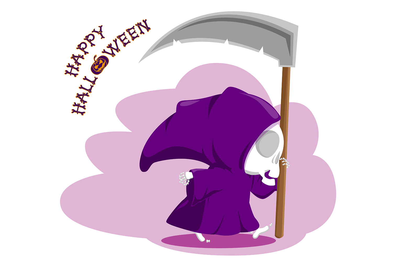 Set of 12 figure funny little death with large scythe and halloween pumpkin. Vector illustration example image 10