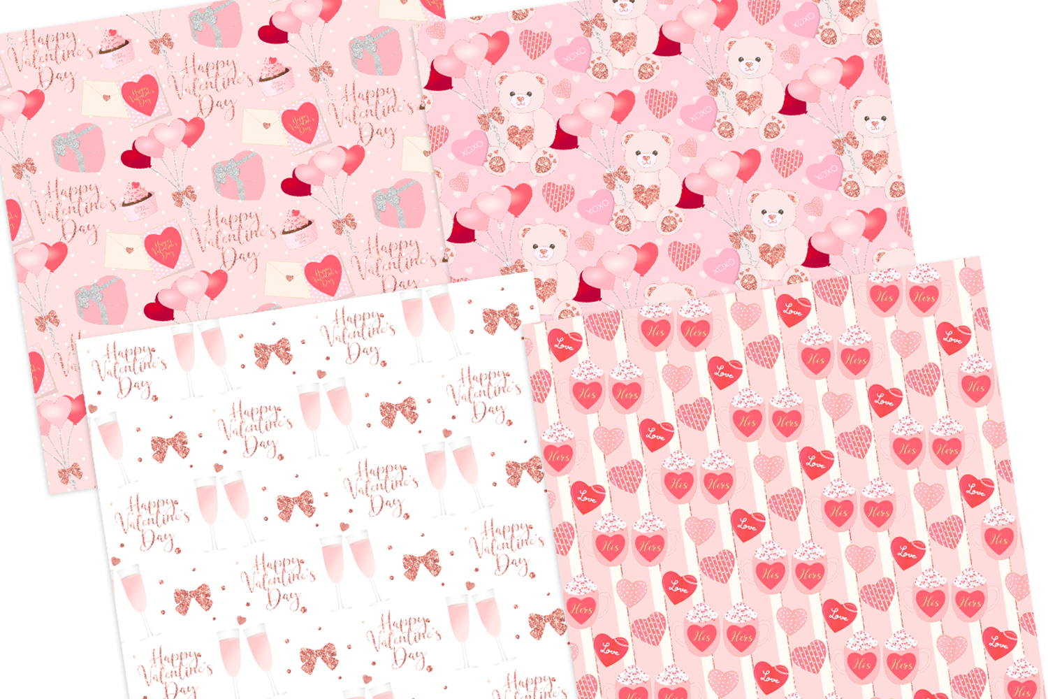 Valentine's Day Seamless Pattern Digital Papers example image 2