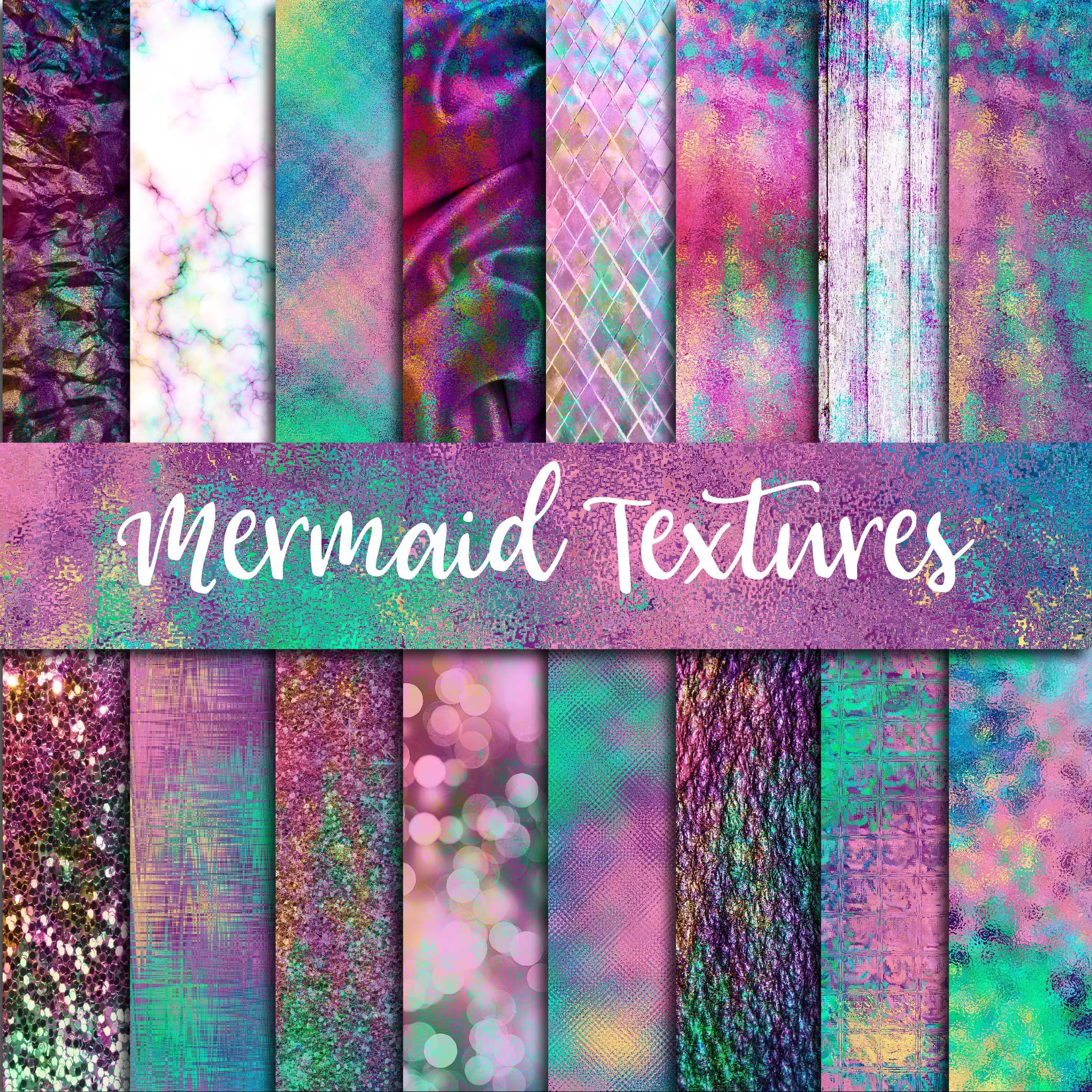 Mermaid Textures Digital Paper example image 1