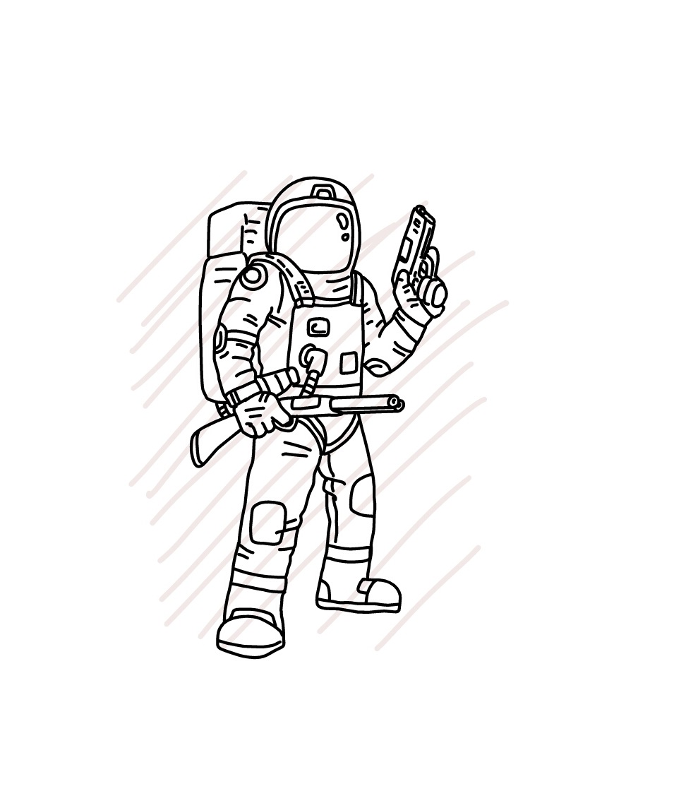 Astronaut holding pistol and shortgun -  SVG/JPG/PNG Hand Drawing example image 2