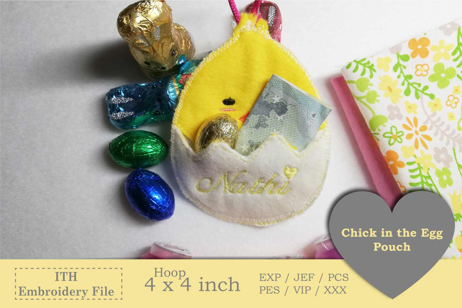 ITH - Chick in Egg Pouch - Great Idea for Money Gifts example image 2