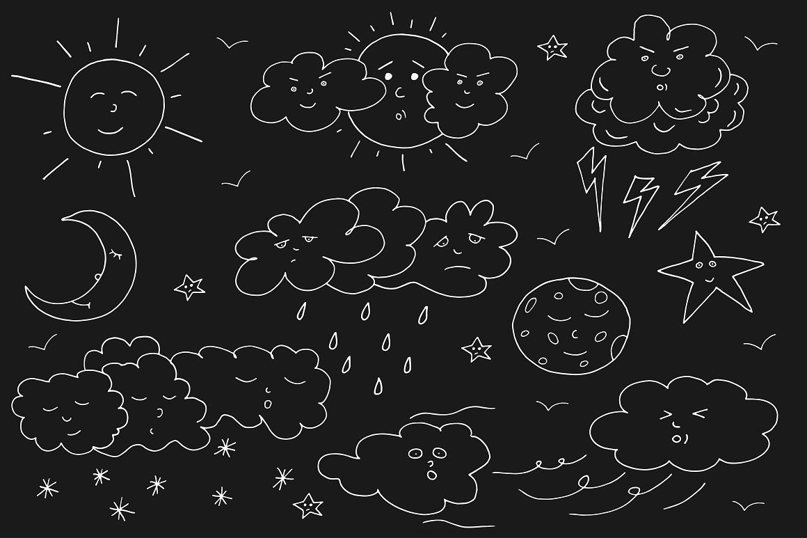 Doodle weather set. example image 2