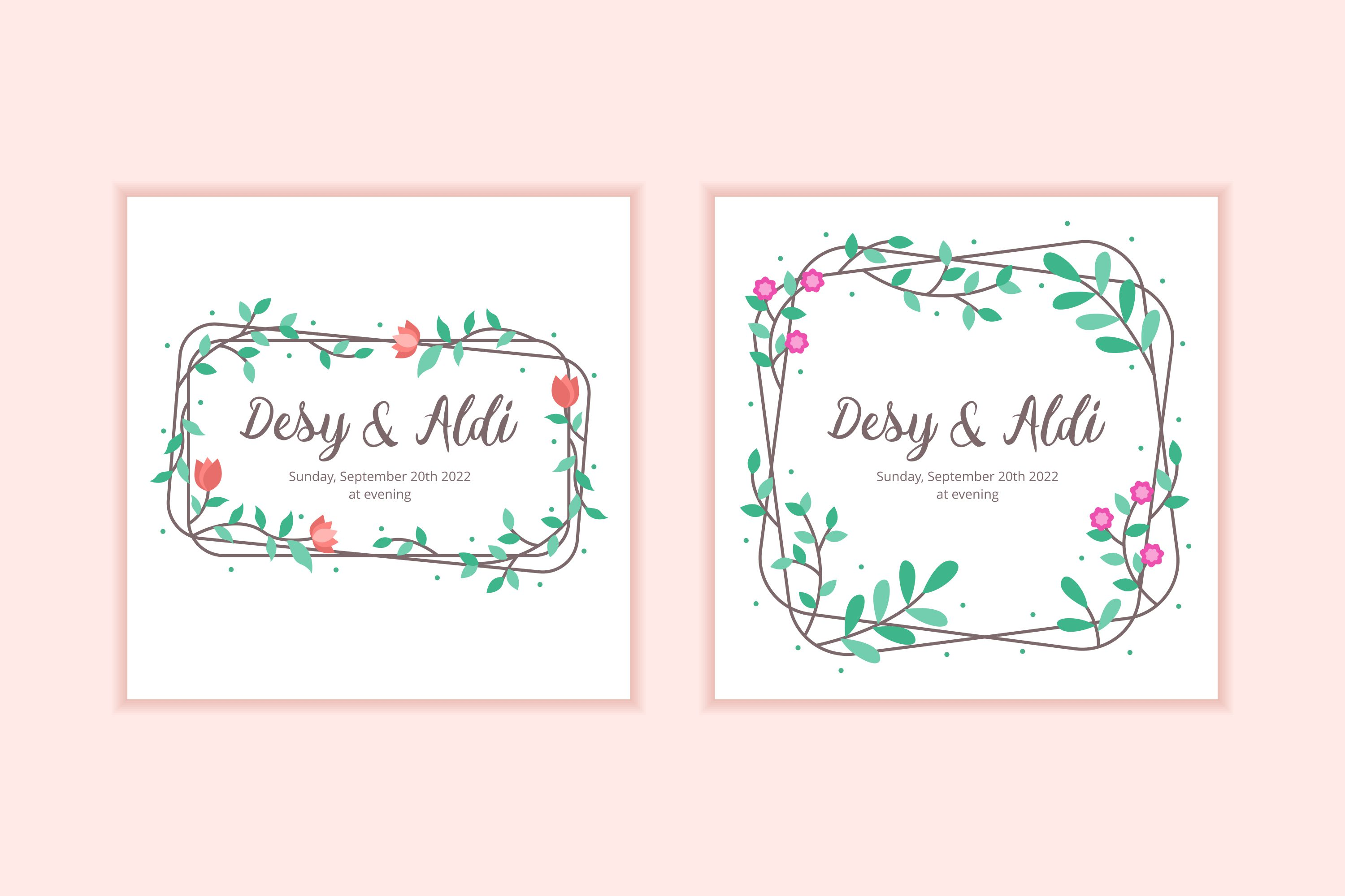 10 Floral Frame Wedding Invitation Template example image 4