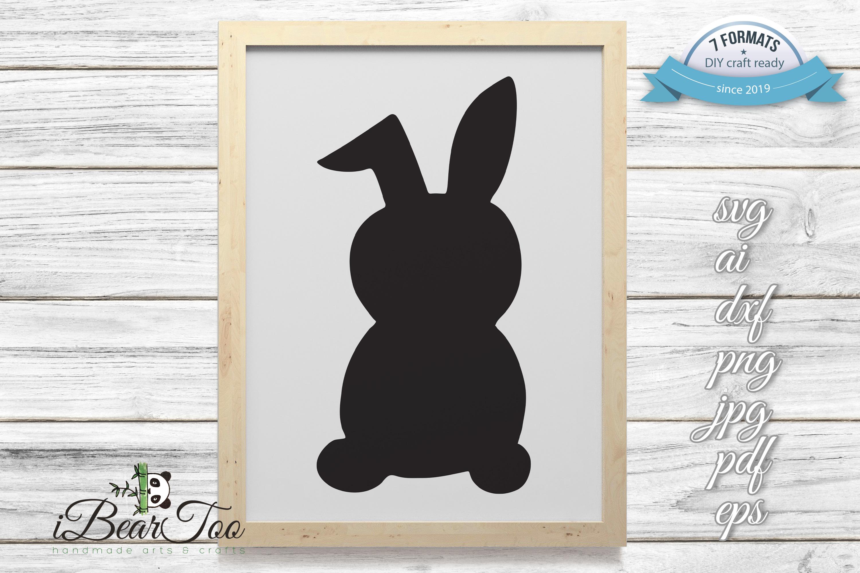 Rabbit SVG Black Clipart Bunny Drawing Vector Cut Files example image 3