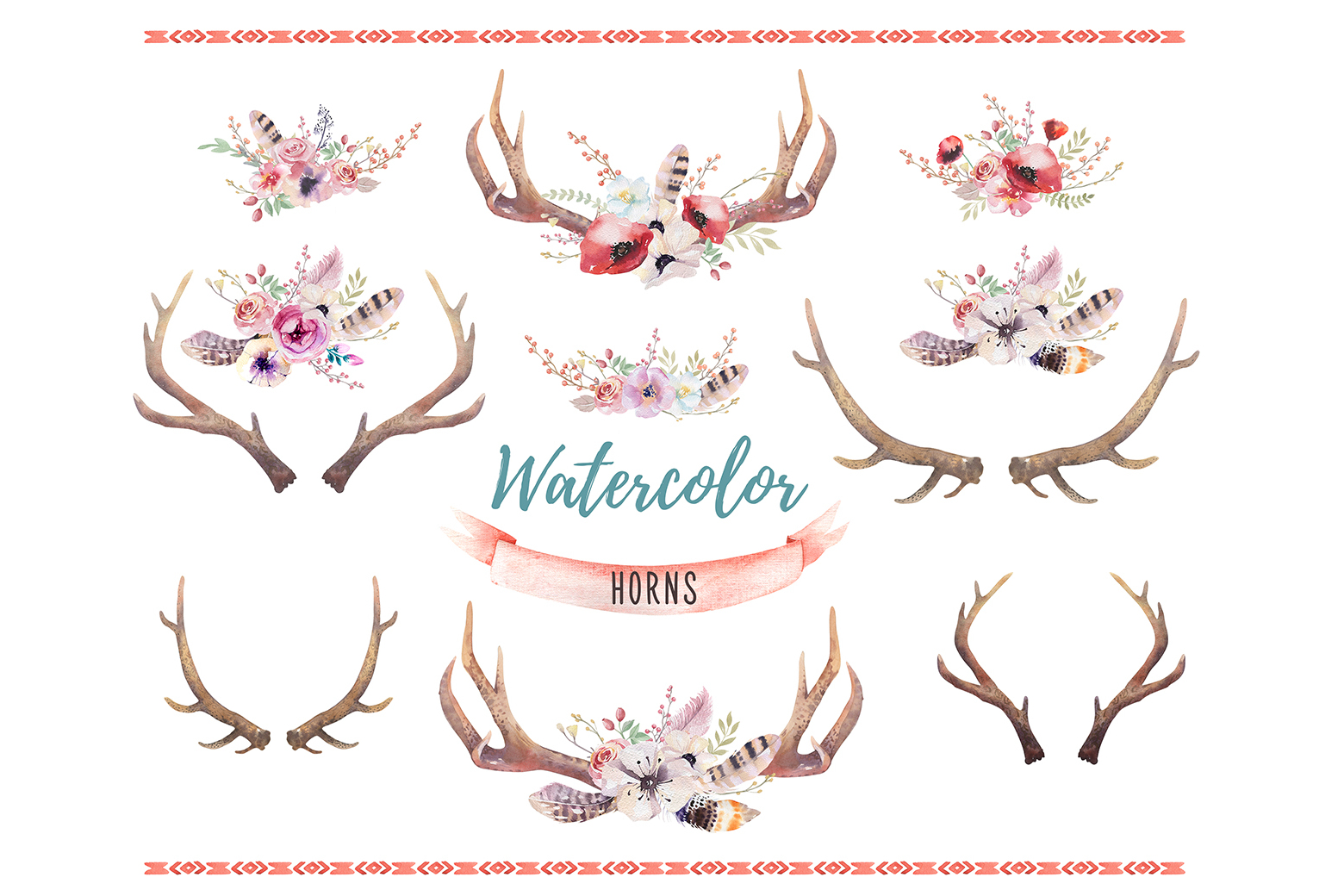 Watercolor deer and horns. Bohemian example image 3