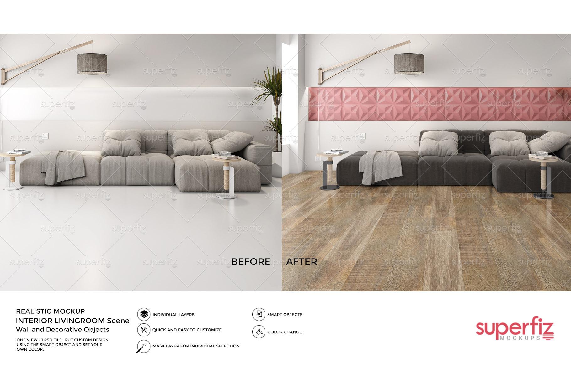Floor and Wall PSD Mockup Livingroom SM87 example image 2