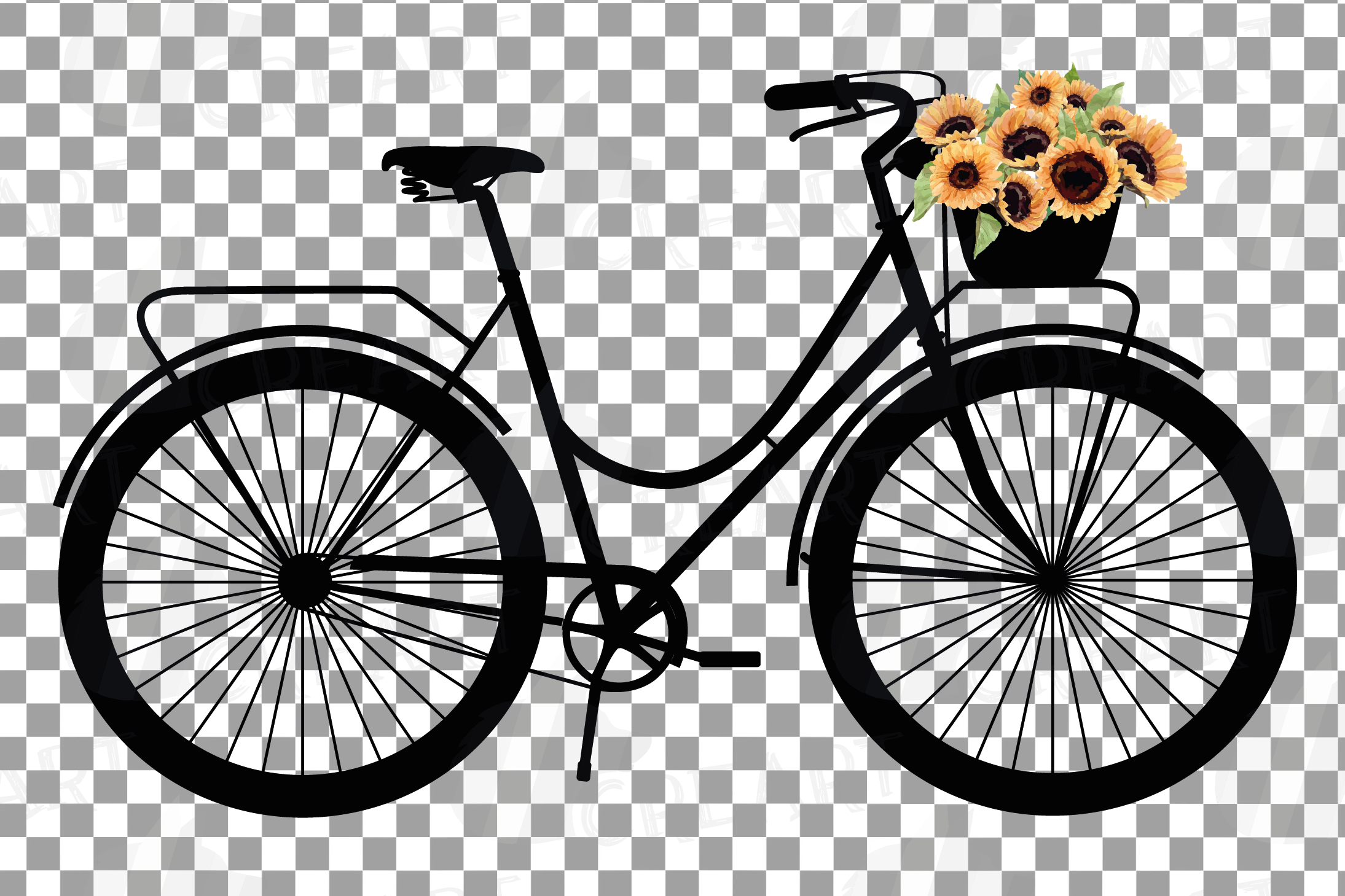 Sunflower bouquets bicycles clip art. Floral bikes decor png example image 4