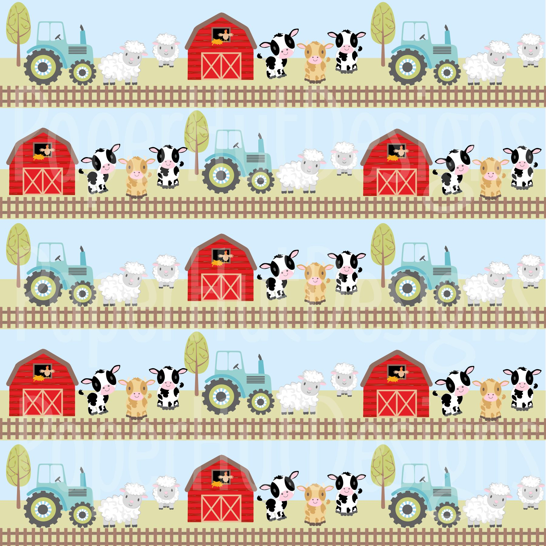 Farm Animals Clipart and Digital Papers example image 5
