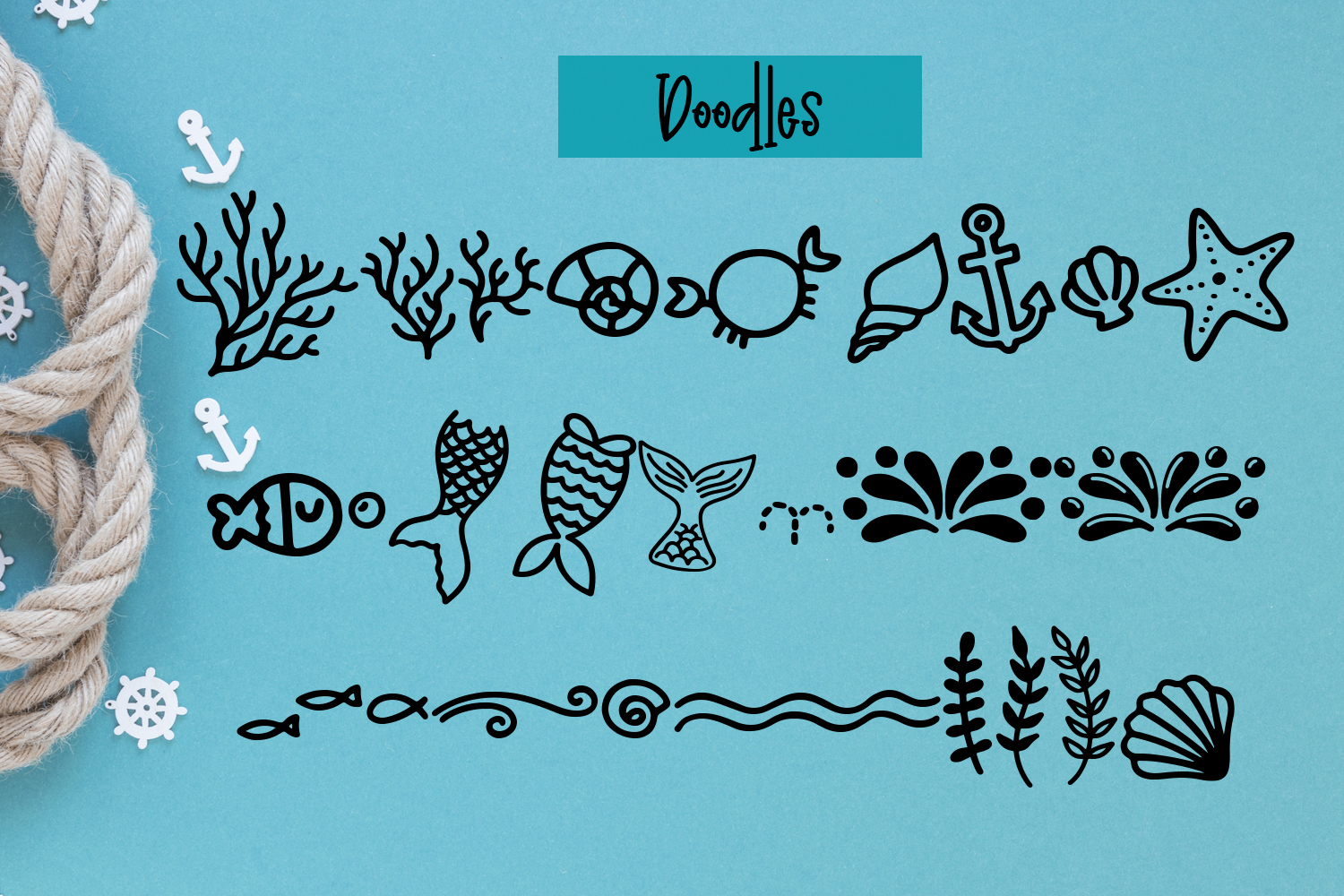Madison's tail - A mermaid font plus nautical doodles example image 3