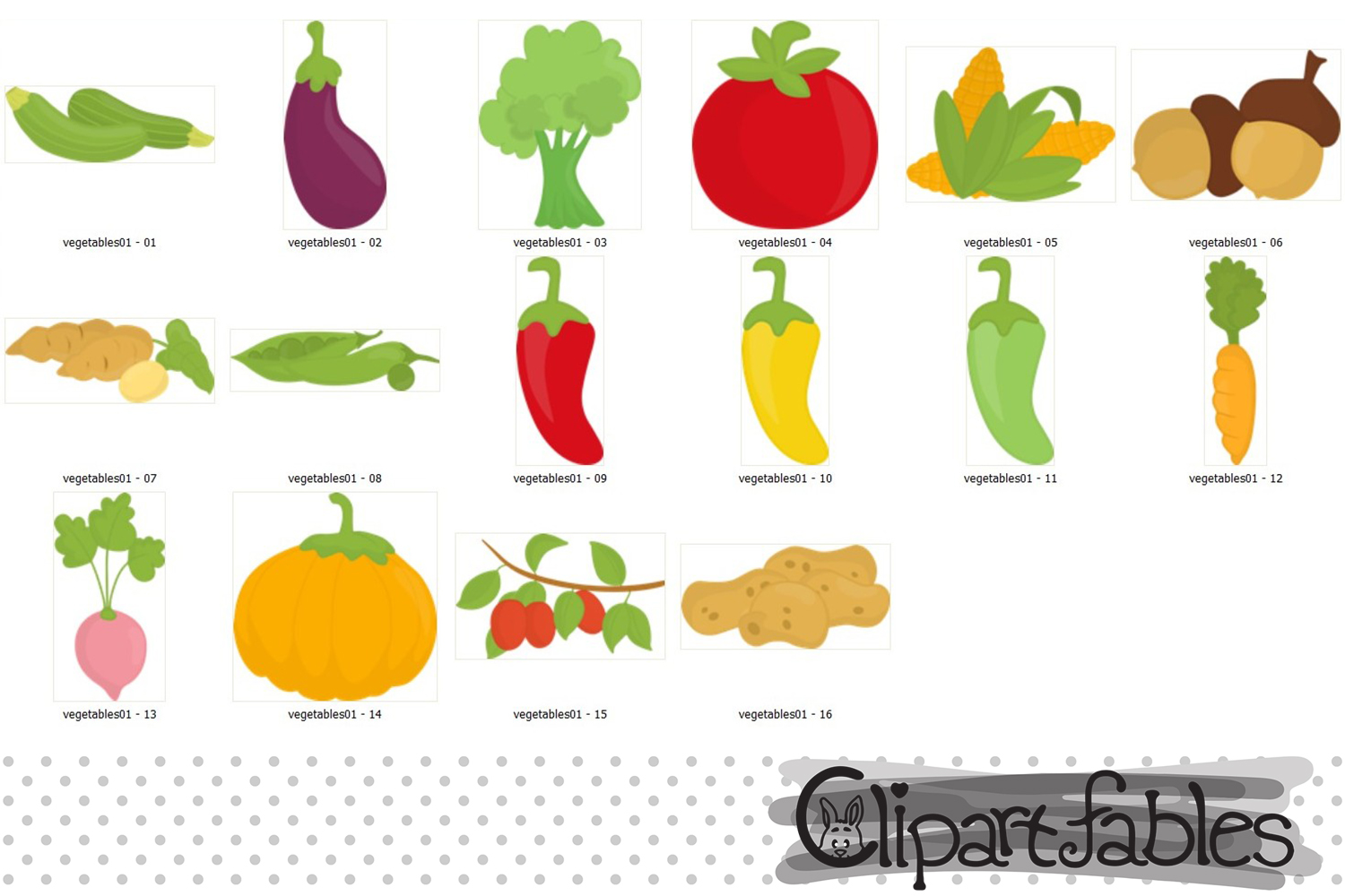 Cute Vegetables clipart - instant download, digital clipart example image 2