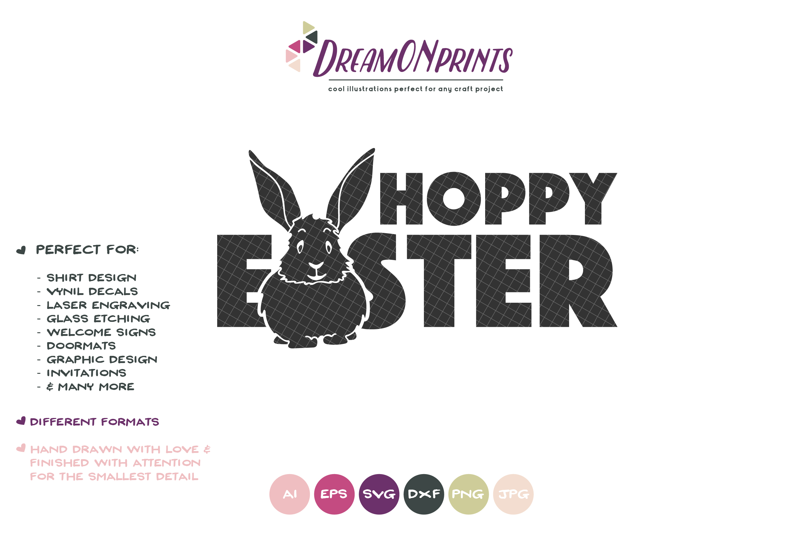 Hoppy Easter SVG - Fun Easter Sign - Easter Bunny SVG example image 2