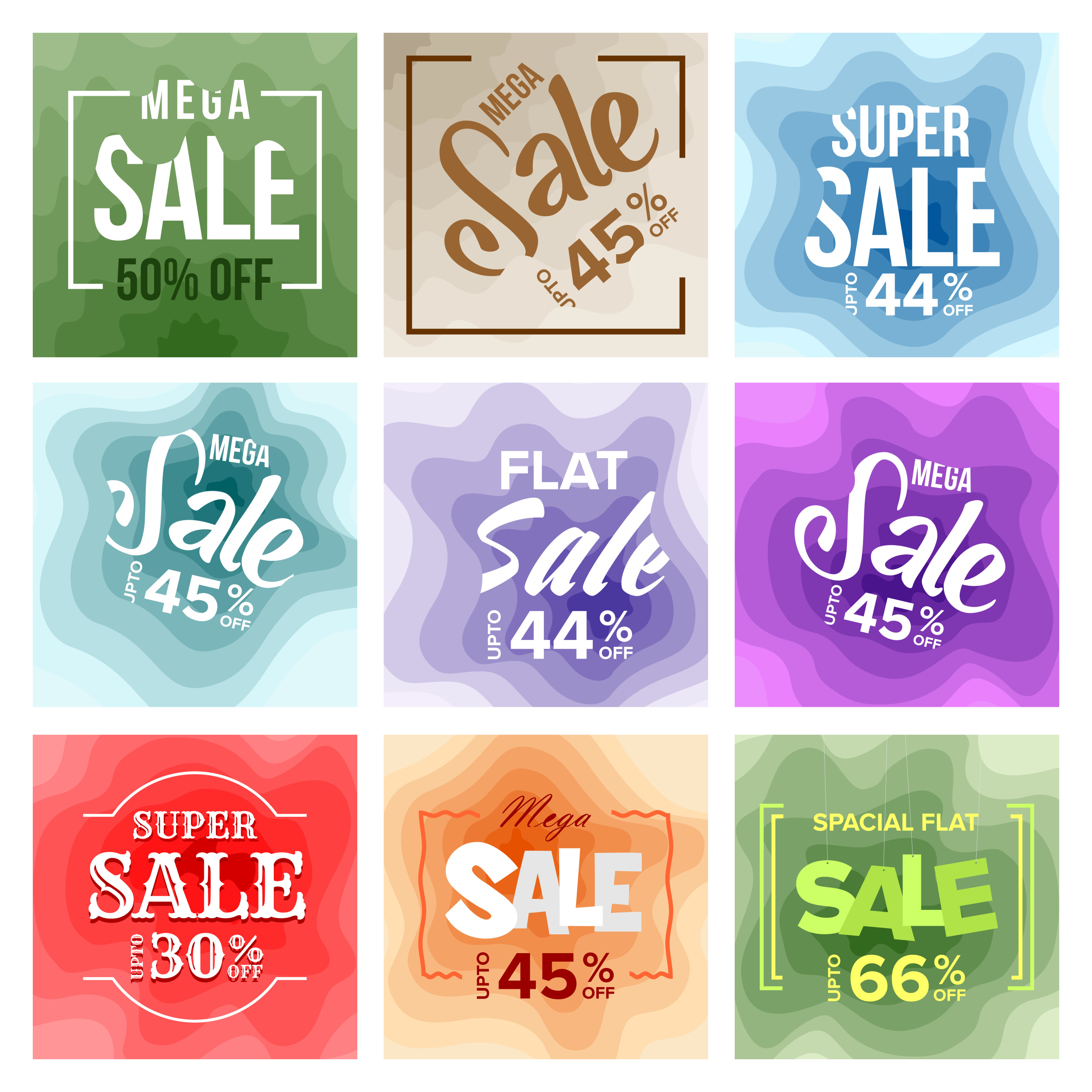 9 Sale Banner Colorful Paper Art Abstract Background V3 example image 2