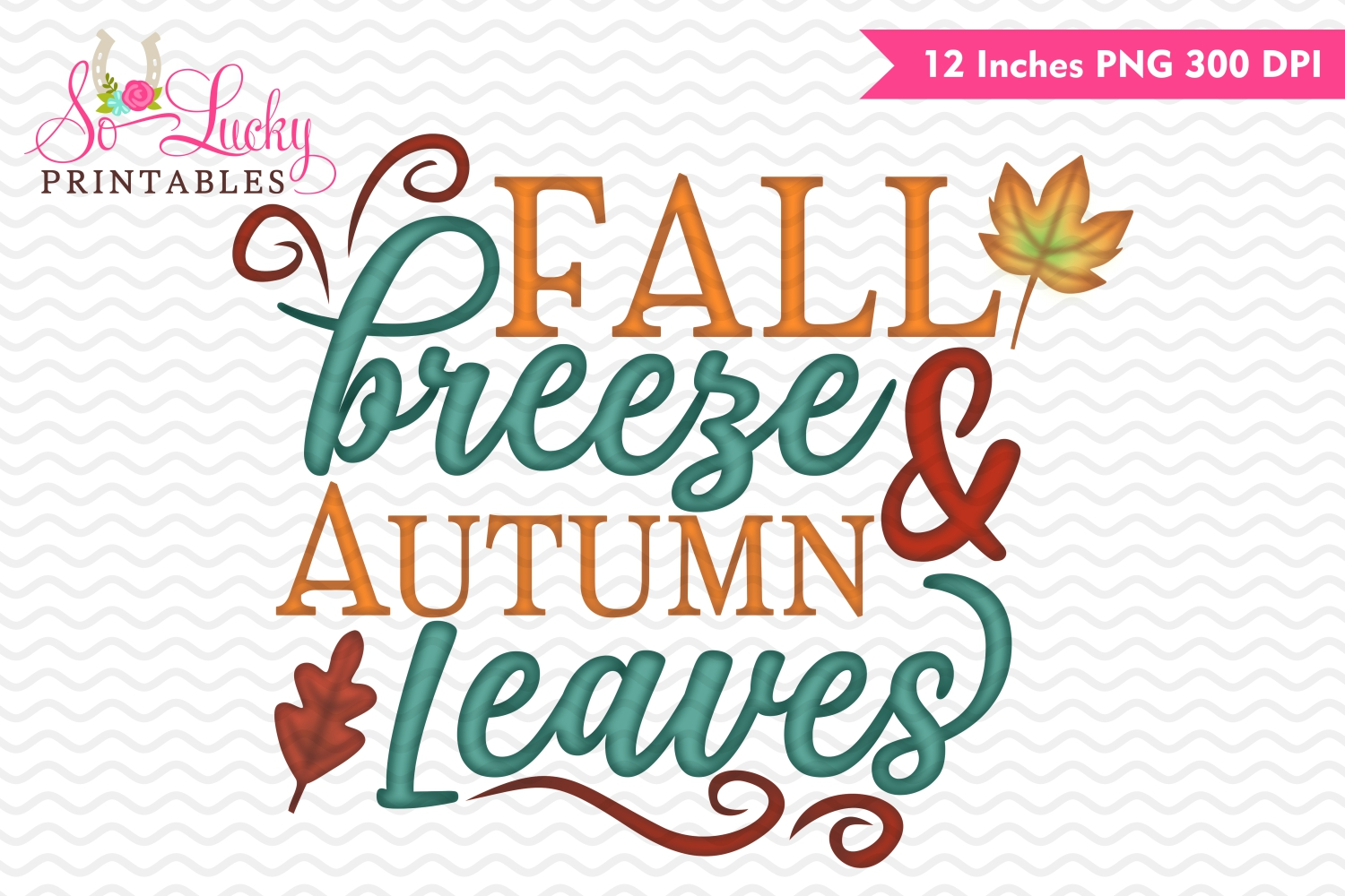 Fall breeze and autumn leaves watercolor printable sublimati example image 1