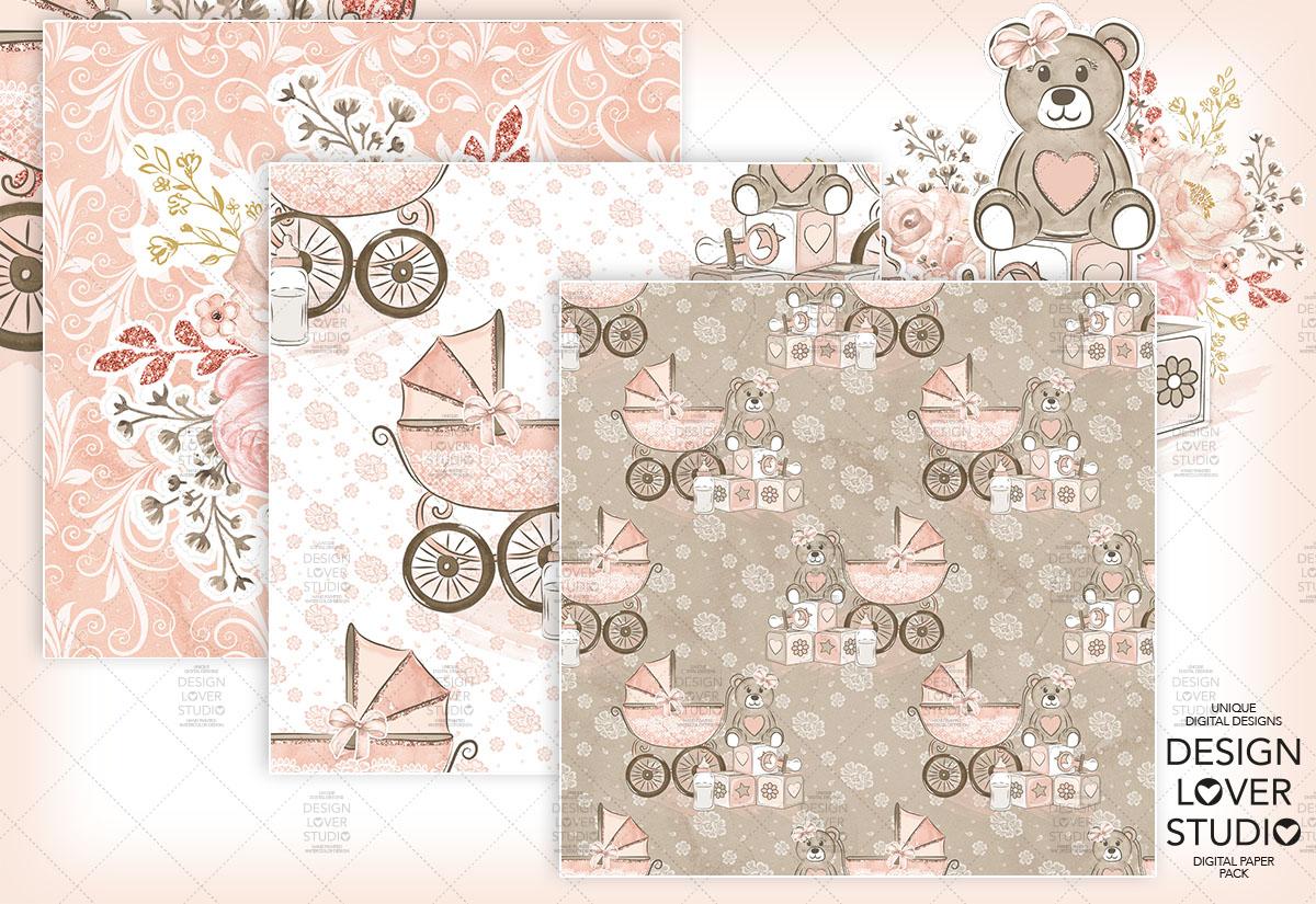 Baby Girl digital paper pack example image 3