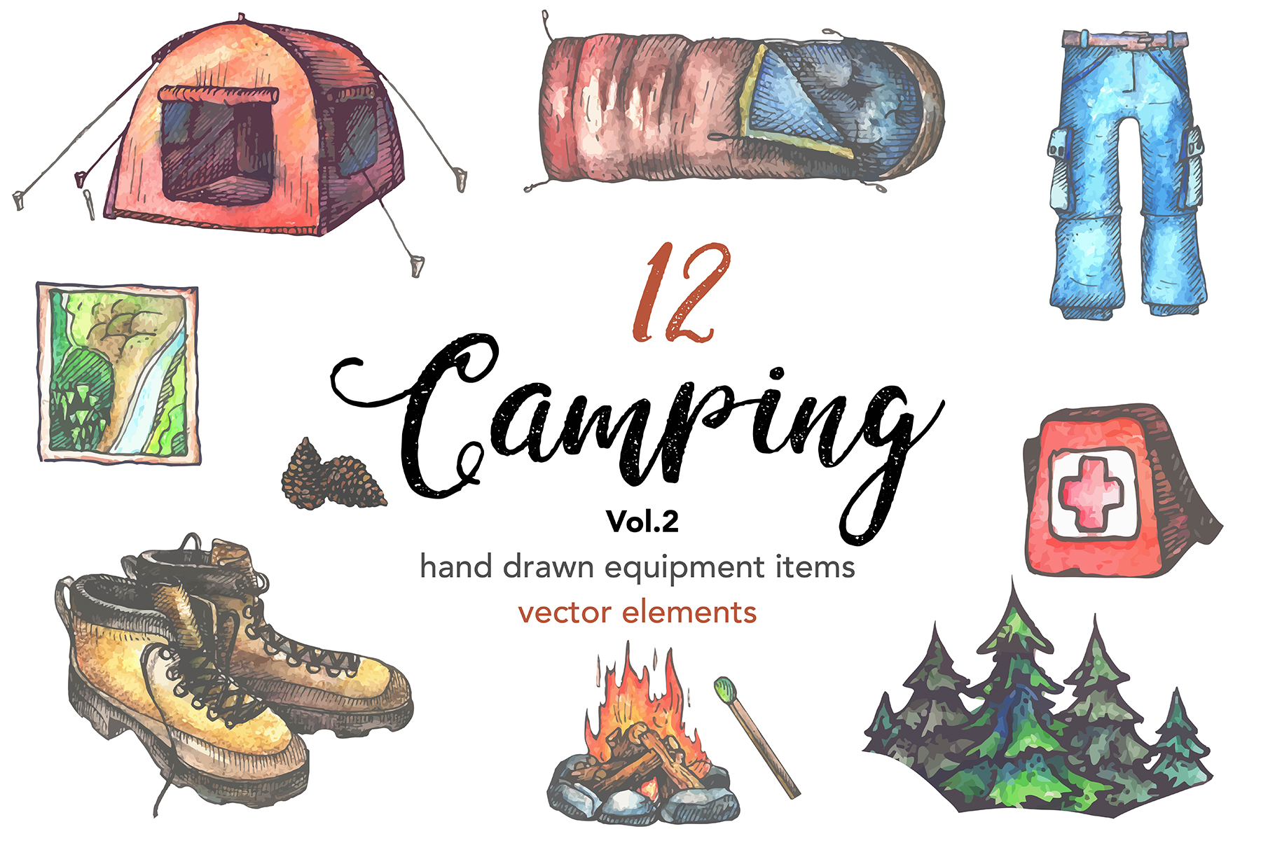 12 Camping equipment illustrations | Vol.2 example image 1