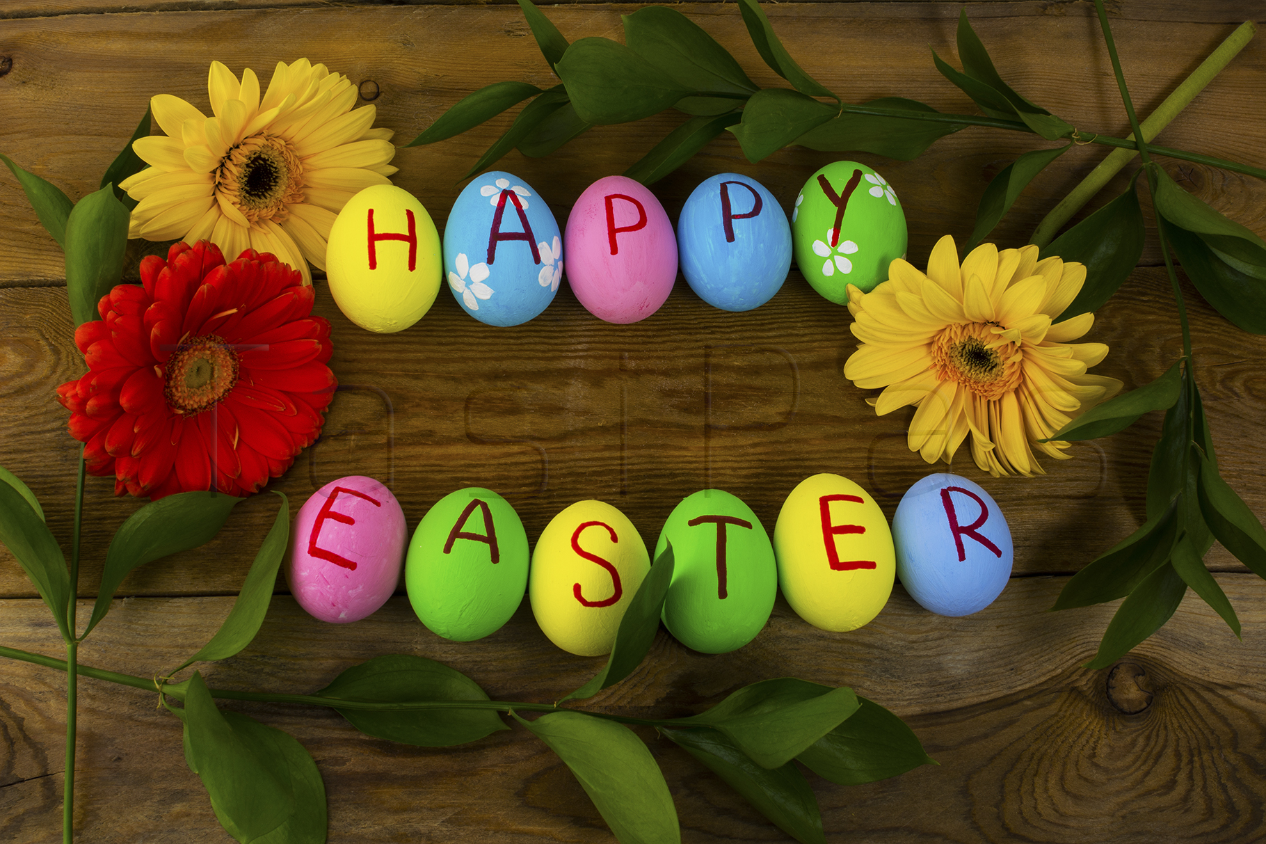 Easter eggs and leaves example image 1