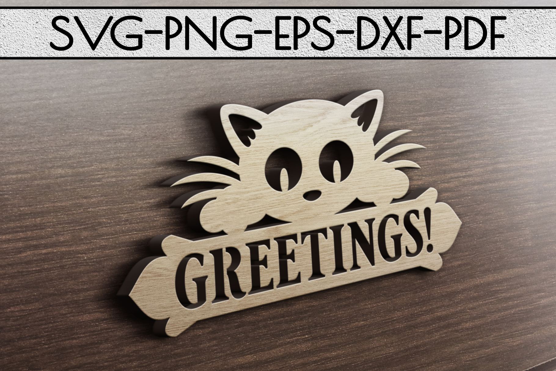 Greetings Sign Papercut Template, Cat House Decor, SVG, DXF example image 2