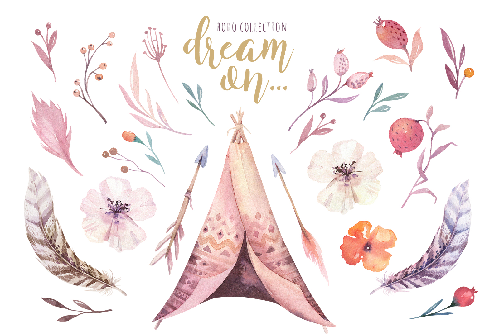 Watercolor teepee collection example image 3