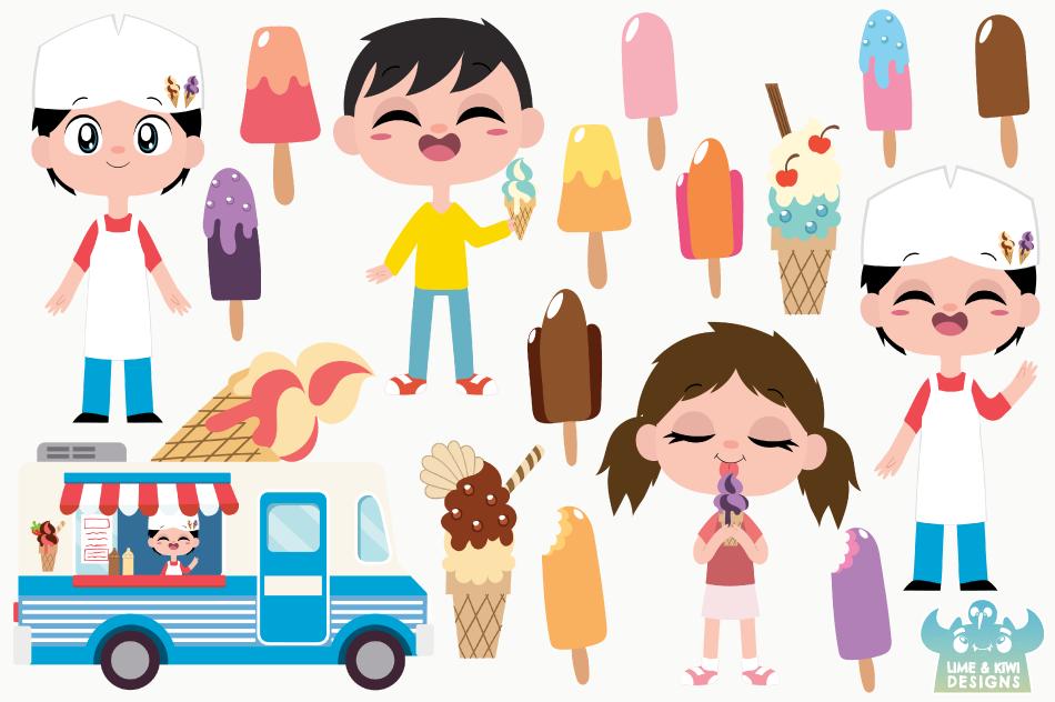 Icecream Van Blue Clipart, Instant Download Vector Art example image 2