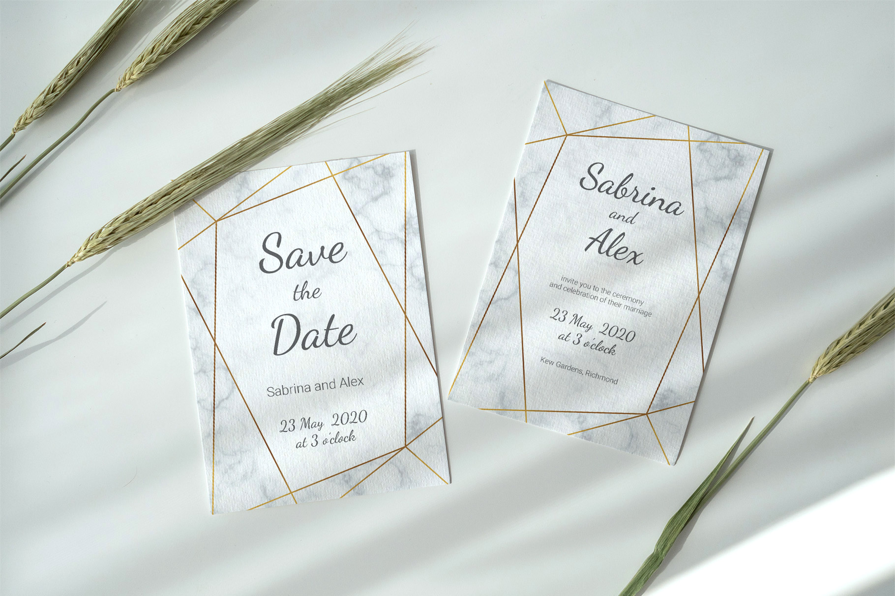Marble wedding invitation suite. Vector example image 3