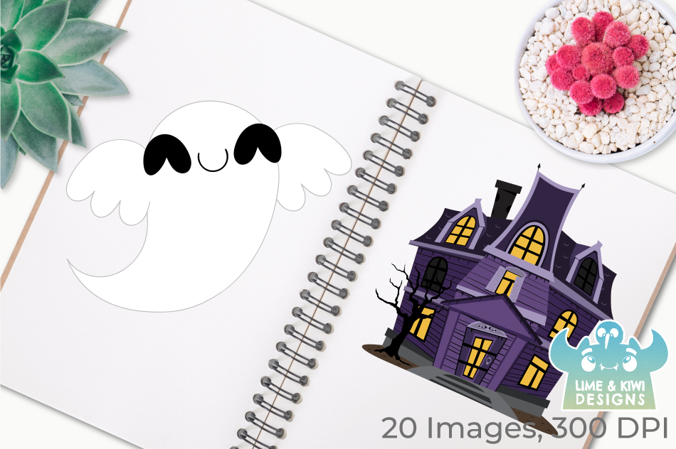Spooky Ghosts Clipart, Instant Download Vector Art example image 3