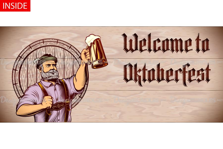 Vector Flyer Invite Copyspace Beer Glass Oktoberfest Man example image 4