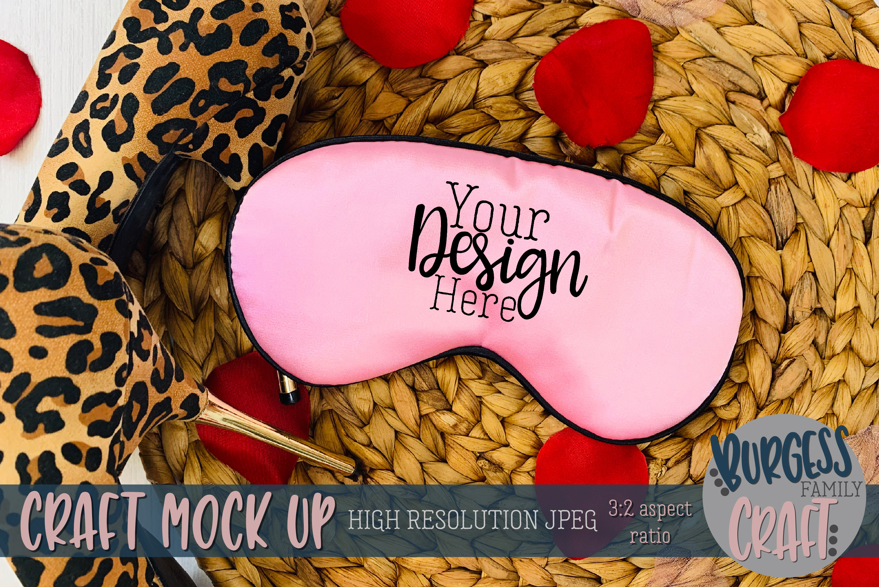 Valentine pink sleep mask with stilettos Craft mock up example image 1