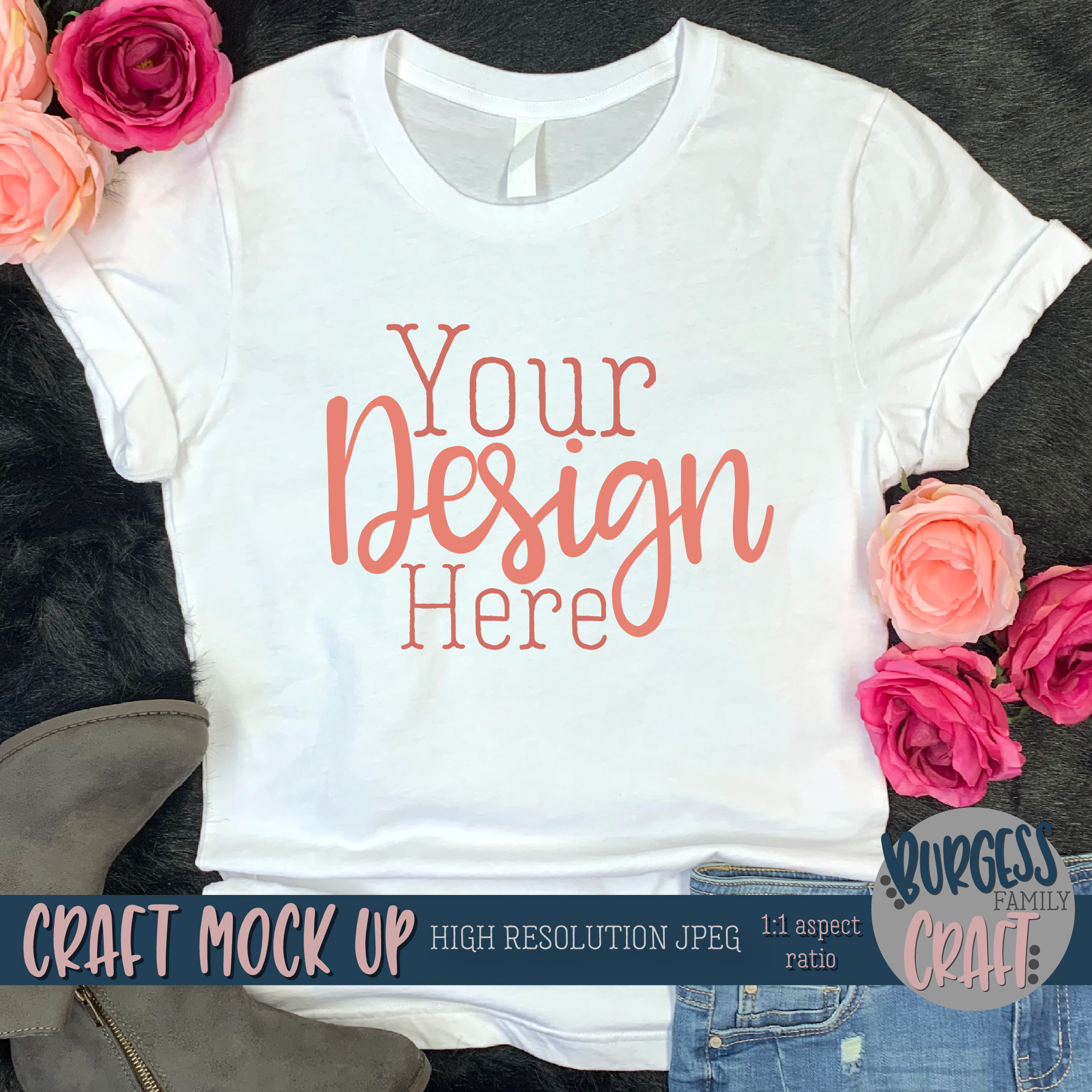 Pretty womens shirt Craft mock up | High Resolution JPEG example image 2