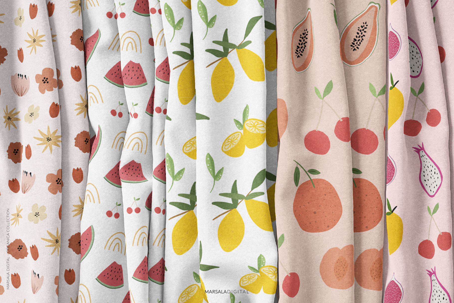 Abstract Shapes & Fun Fruits Patterns and Graphics example image 7