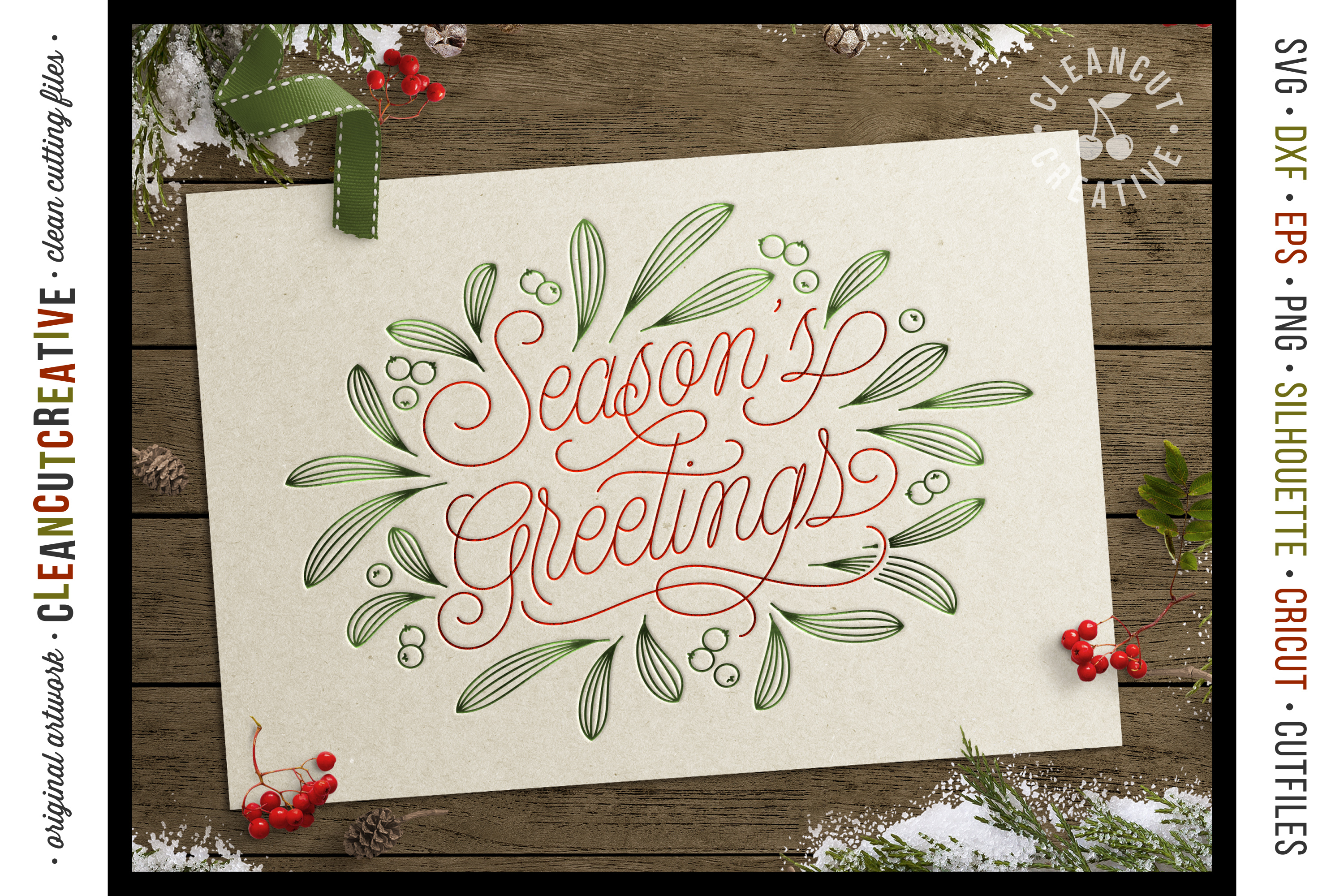 Foil Quill Season's Greetings single line Christmas file SVG example image 2