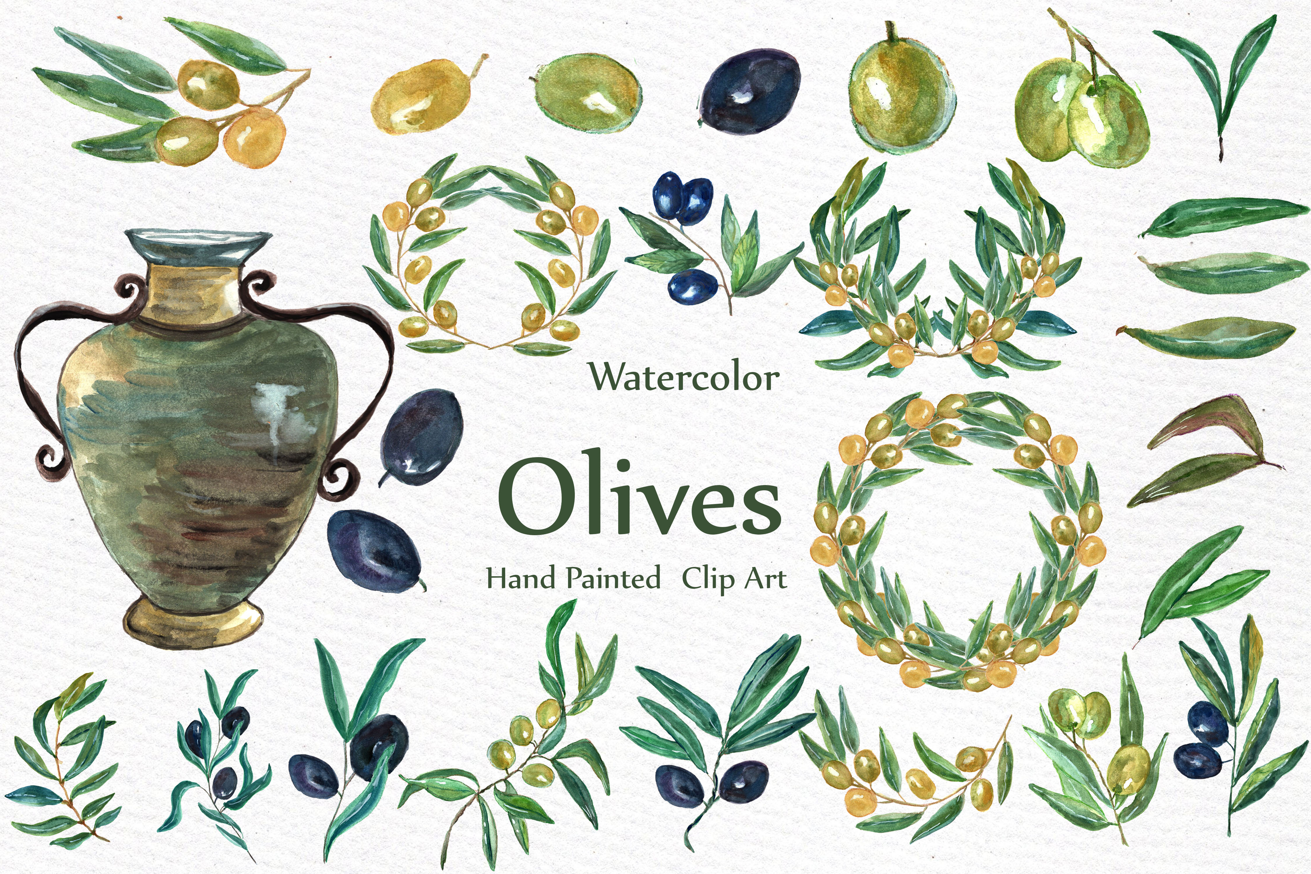 Watercolor Olive clip art set example image 3
