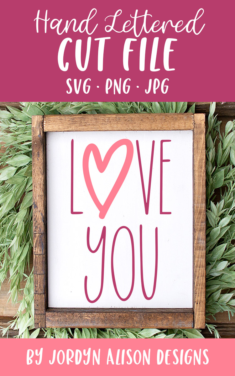 Love You, Skinny Valentine's SVG Cut File example image 2