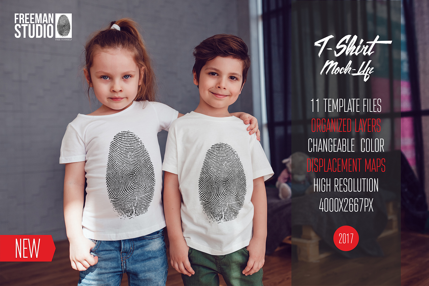 Kids T-Shirt Mock-Up Vol.3 2017 example image 1