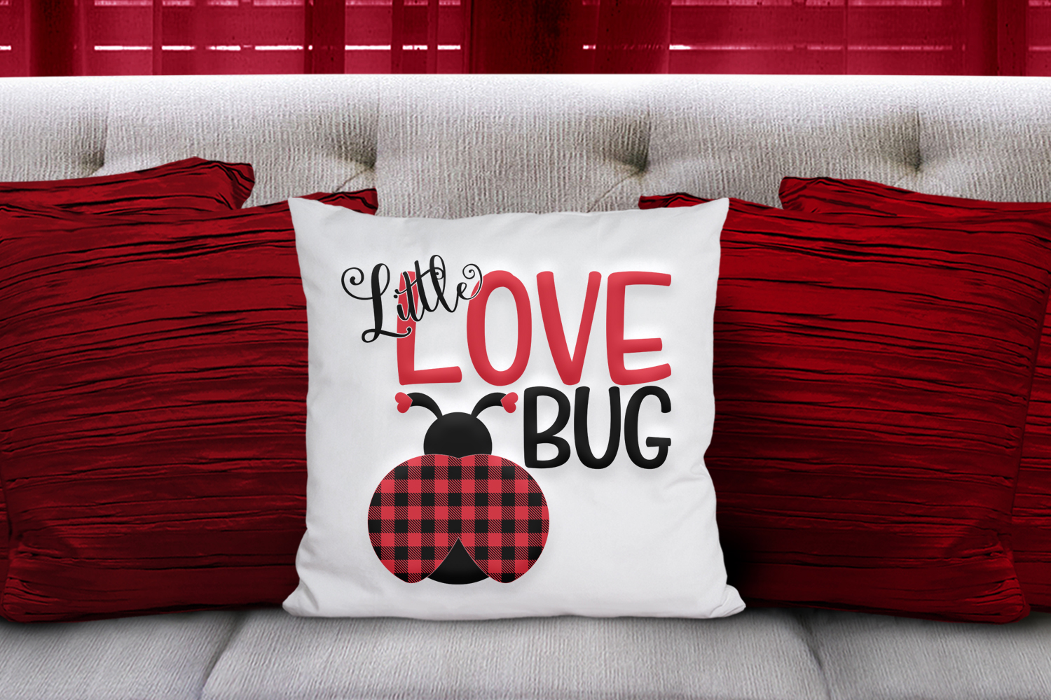 Little Love Bug - A Buffalo Plaid Valentine's Day SVG example image 2