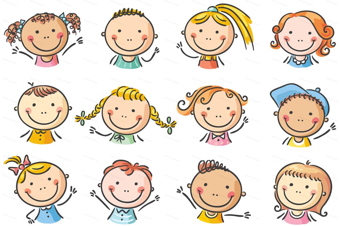 Happy Cartoon Kids Bundle, children doodle, kids doodle example image 5