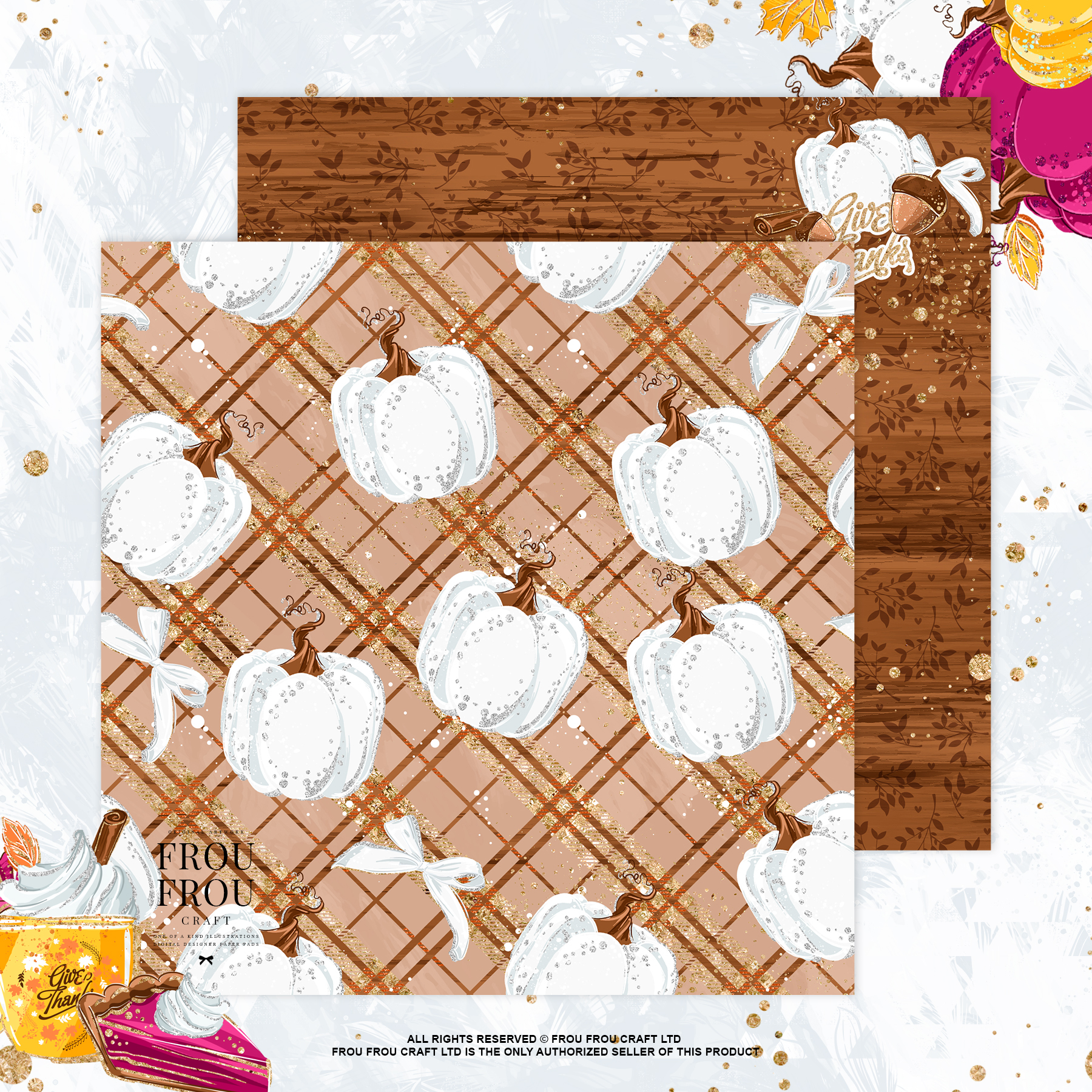 Sweets Cake Pumpkin Pie Fall Autumn Paper Pack example image 4