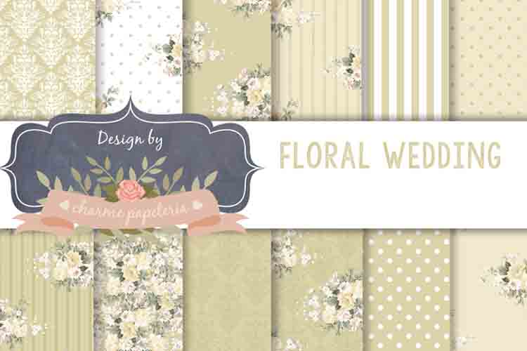 Beige floral Digital Paper Wedding neutral floral bouquet example image 1