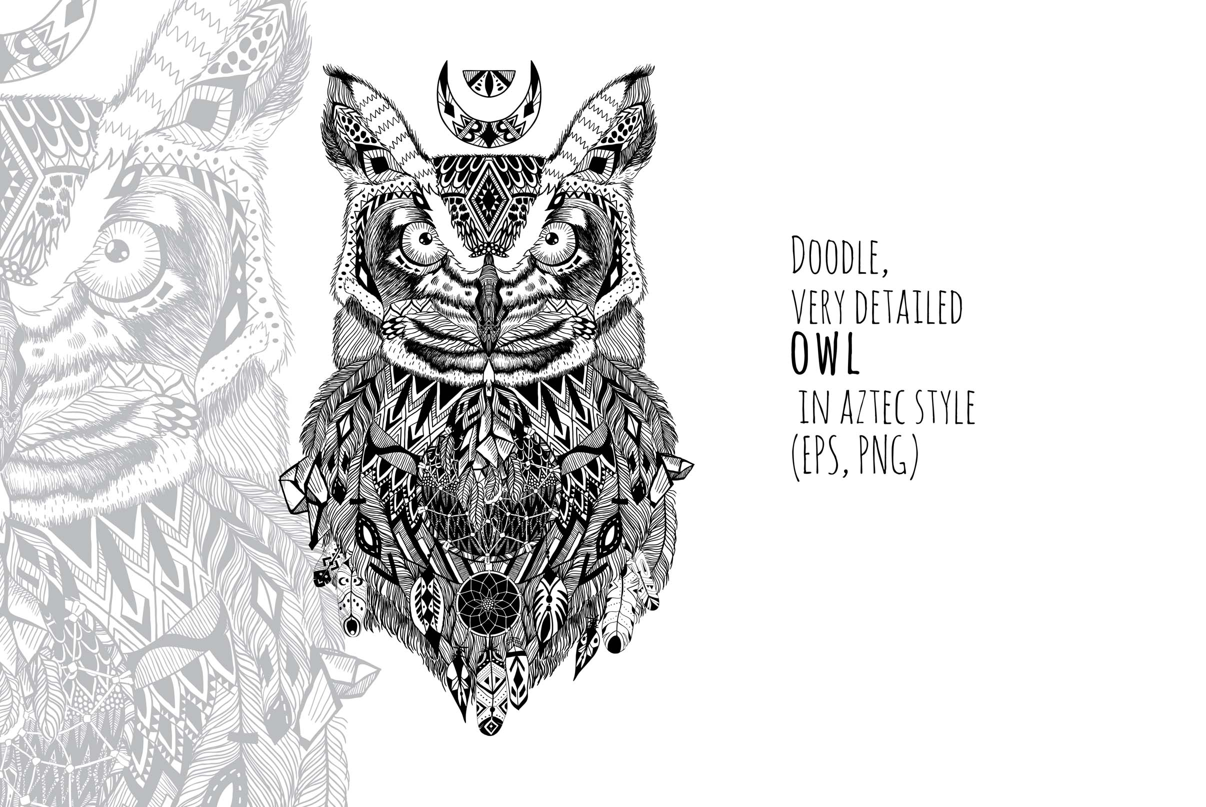Textured owl in aztec style example image 1