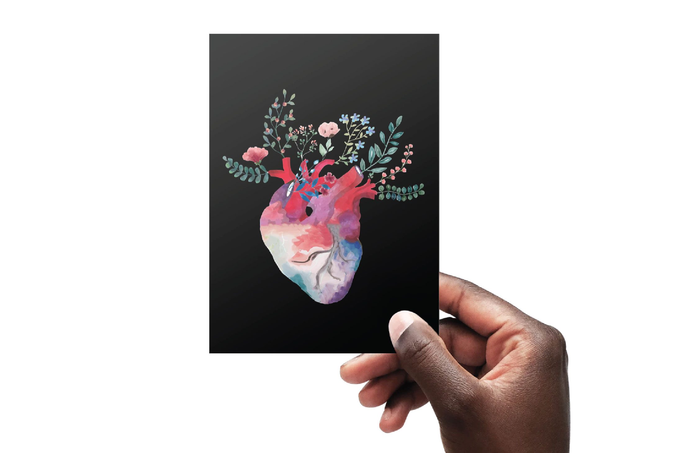 Flowering anatomical heart Valentine's day card design png. example image 4