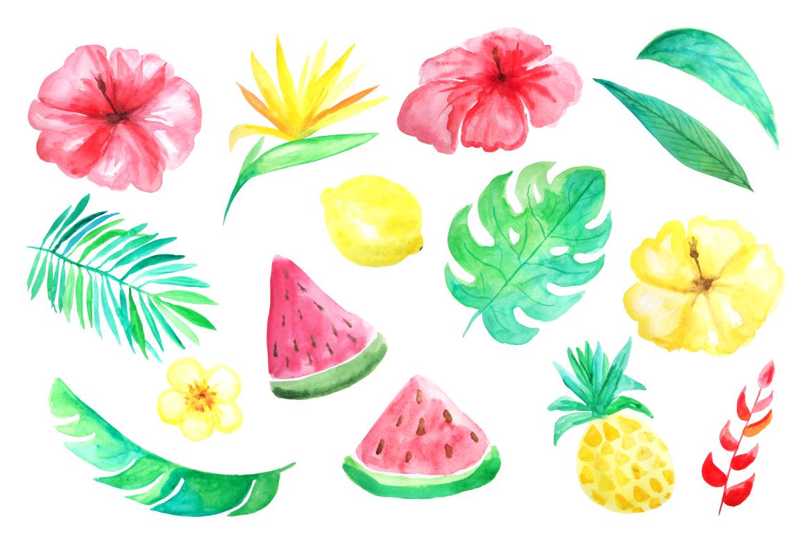 Watercolor Tropical Mini Set example image 2