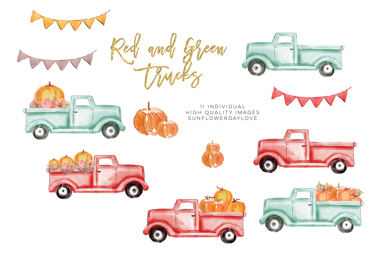 Pumpkin truck clipart, Watercolor Red Truck Pumpkins example image 3
