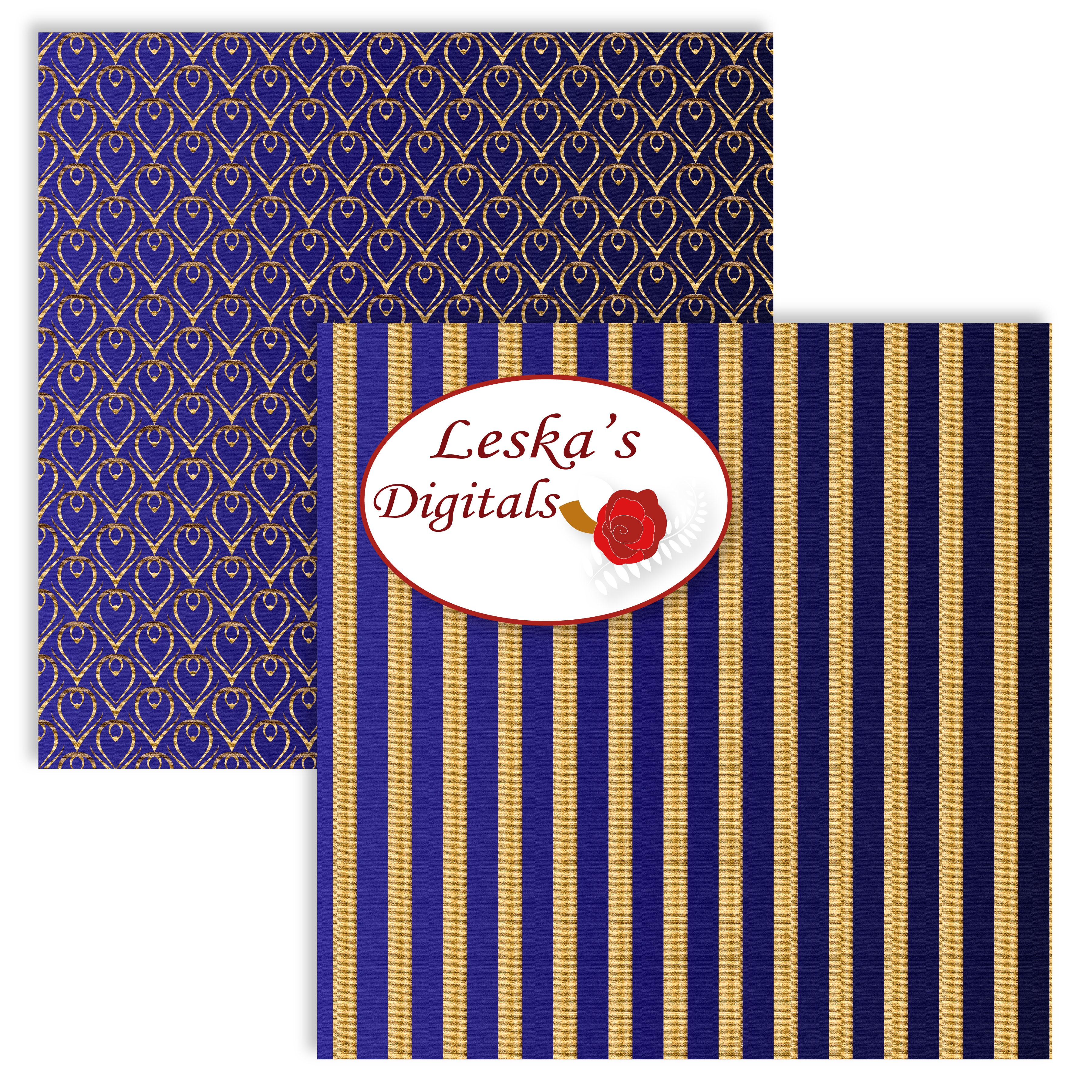 Royal Blue and Gold Digital Backgrounds example image 2