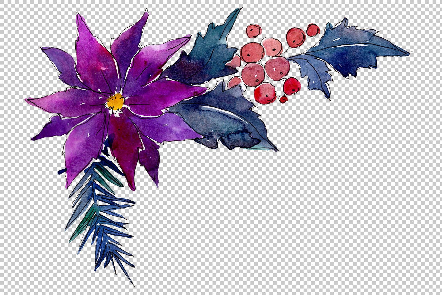 Collection of Christmas magic watercolor png example image 2