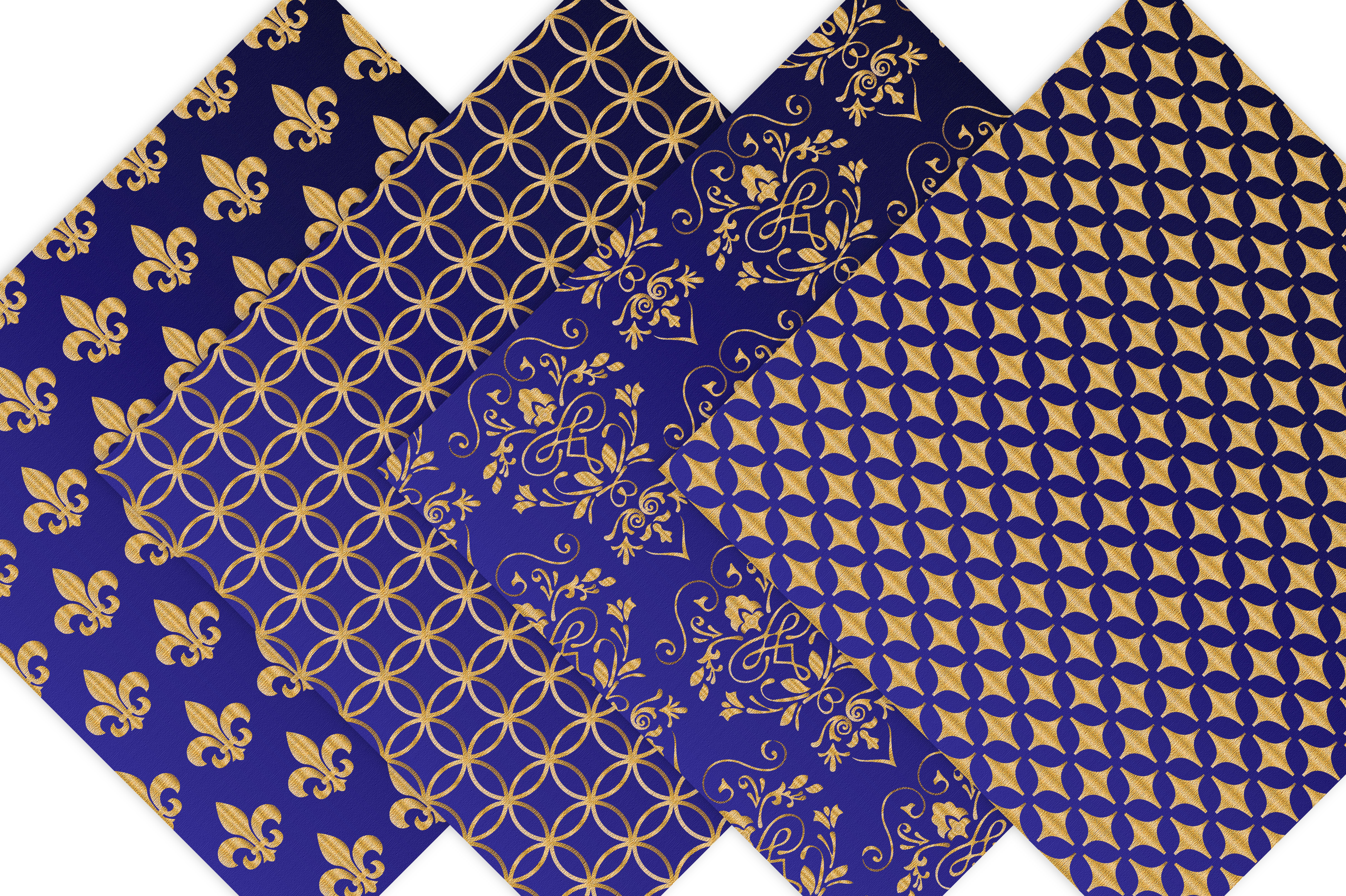 Royal Blue and Gold Digital Backgrounds example image 5